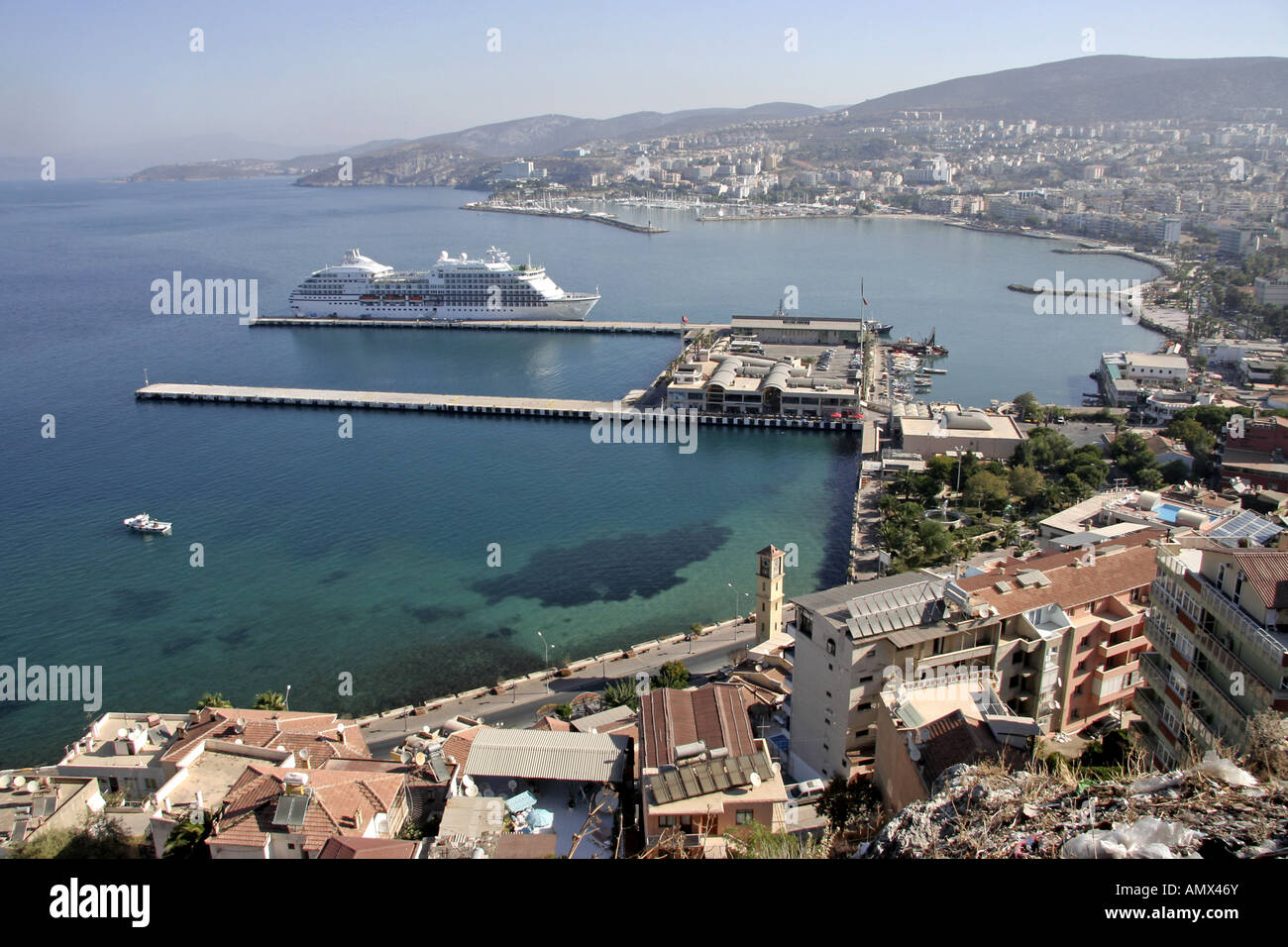 view of Kusadasi habour with cruise liner Seven Seas Navigator, Turkey, Kusadasi - Stock Image