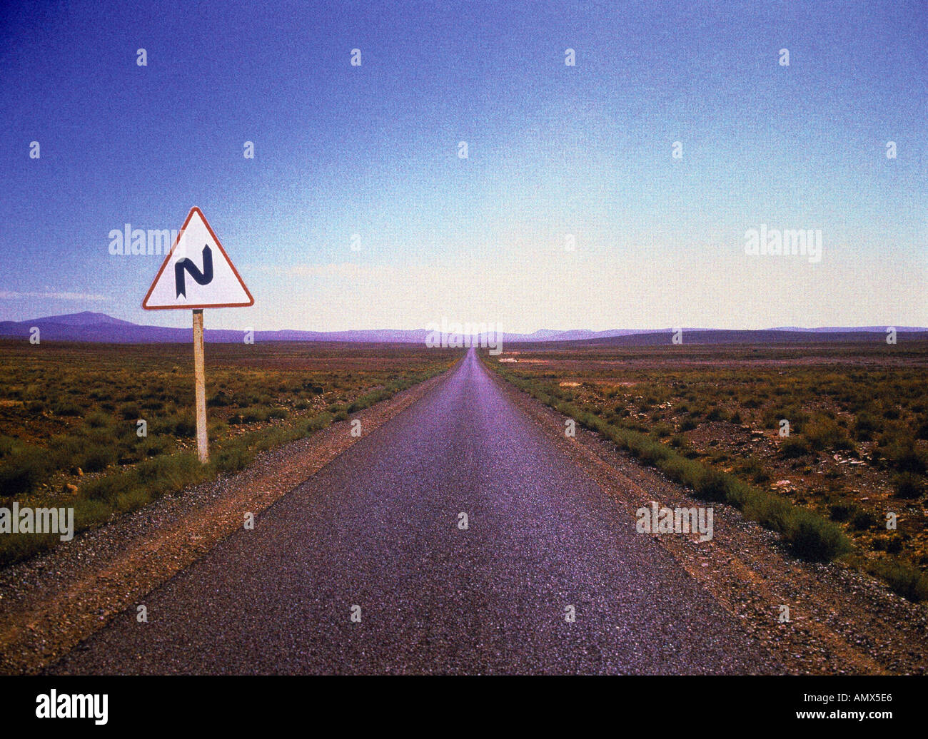 Straight Road, Road Sign - Stock Image
