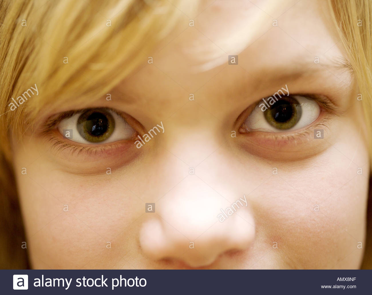 Child s face eyes wide open - Stock Image