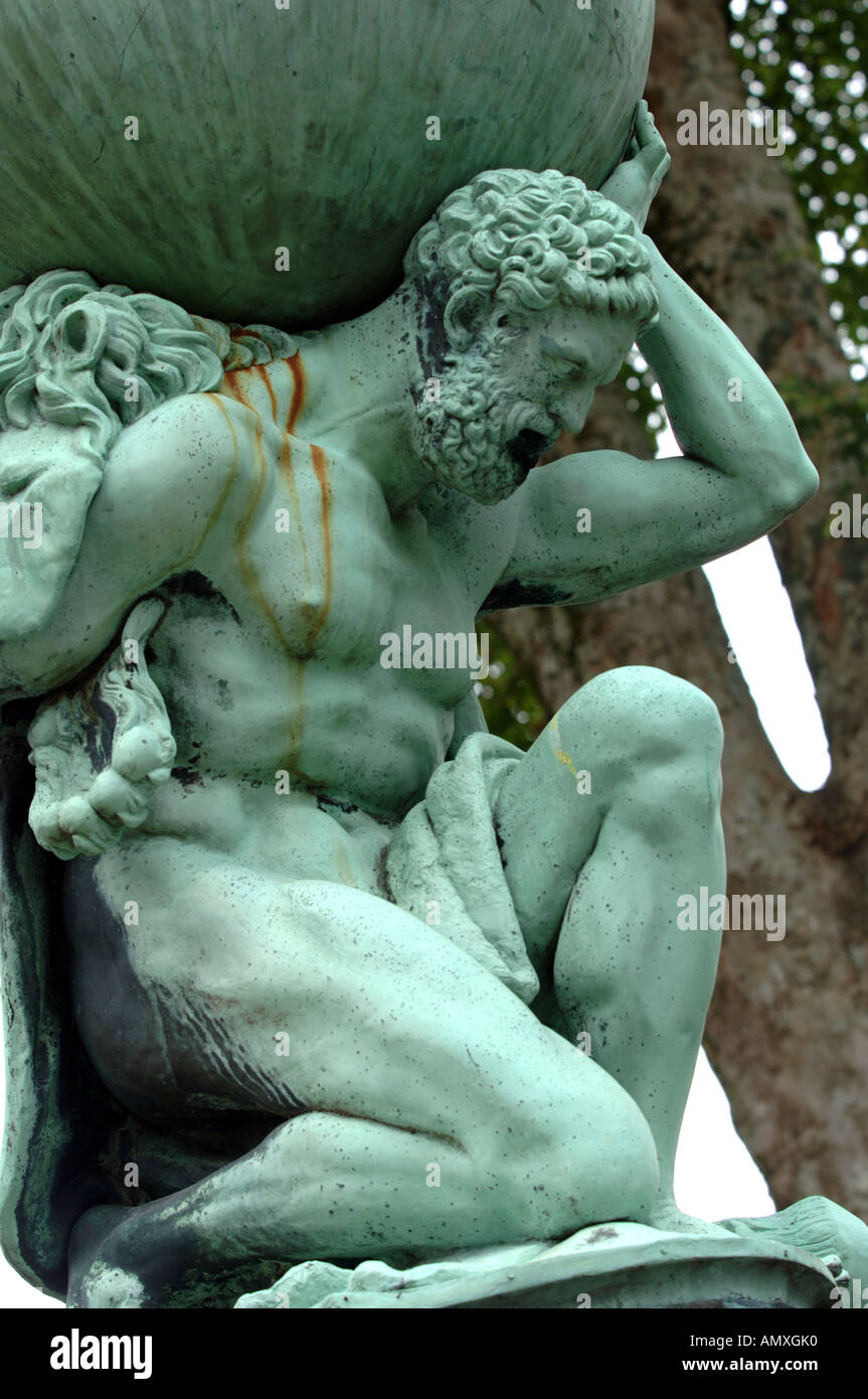 Hercules Statue, Atlas statue, Portmeirion Gwynedd North Wales UK - Stock Image