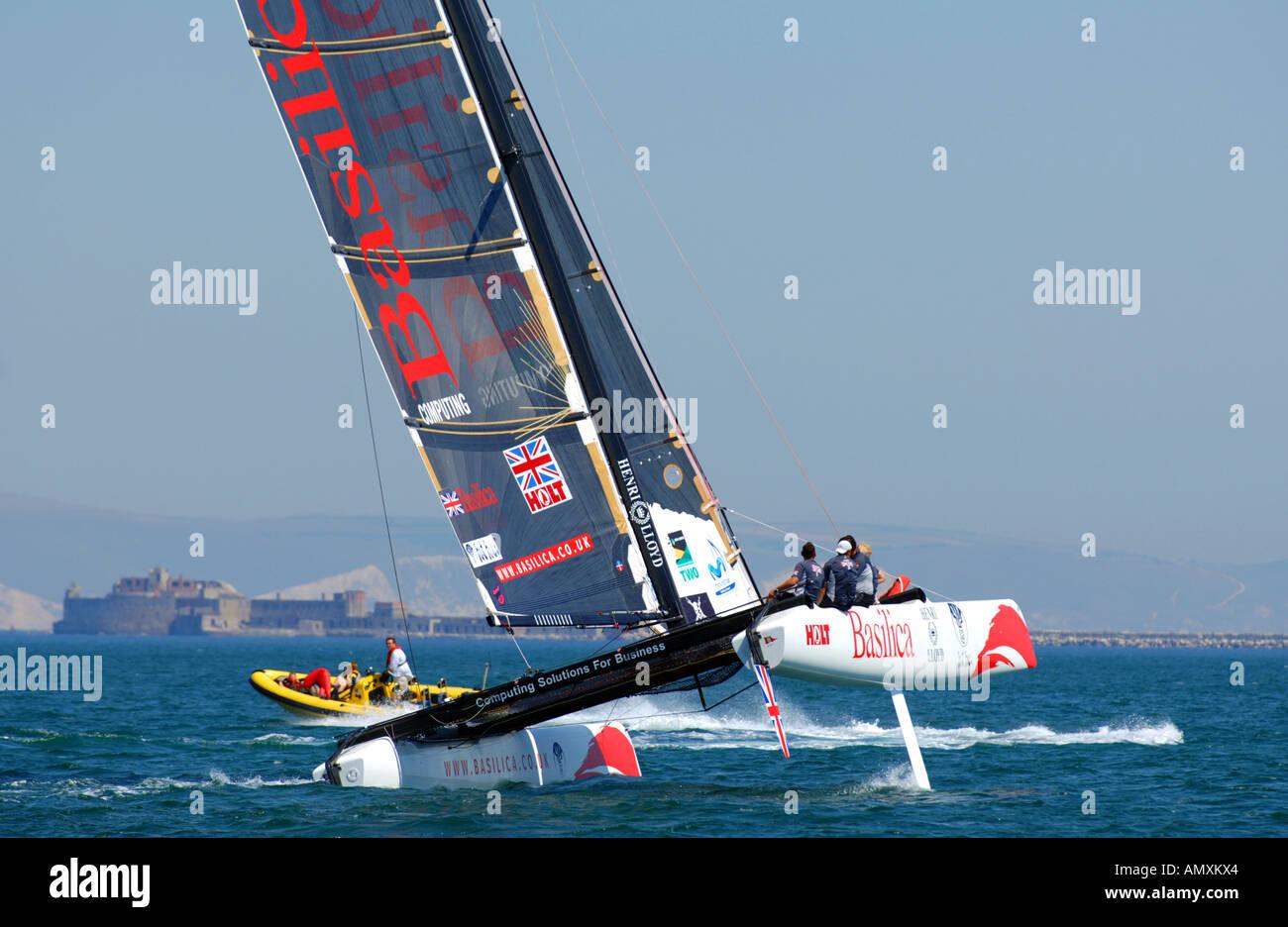 Catamaran. yacht, yachting, sailing, Weymouth and Portland Sailing Academy Dorset Britain UK - Stock Image