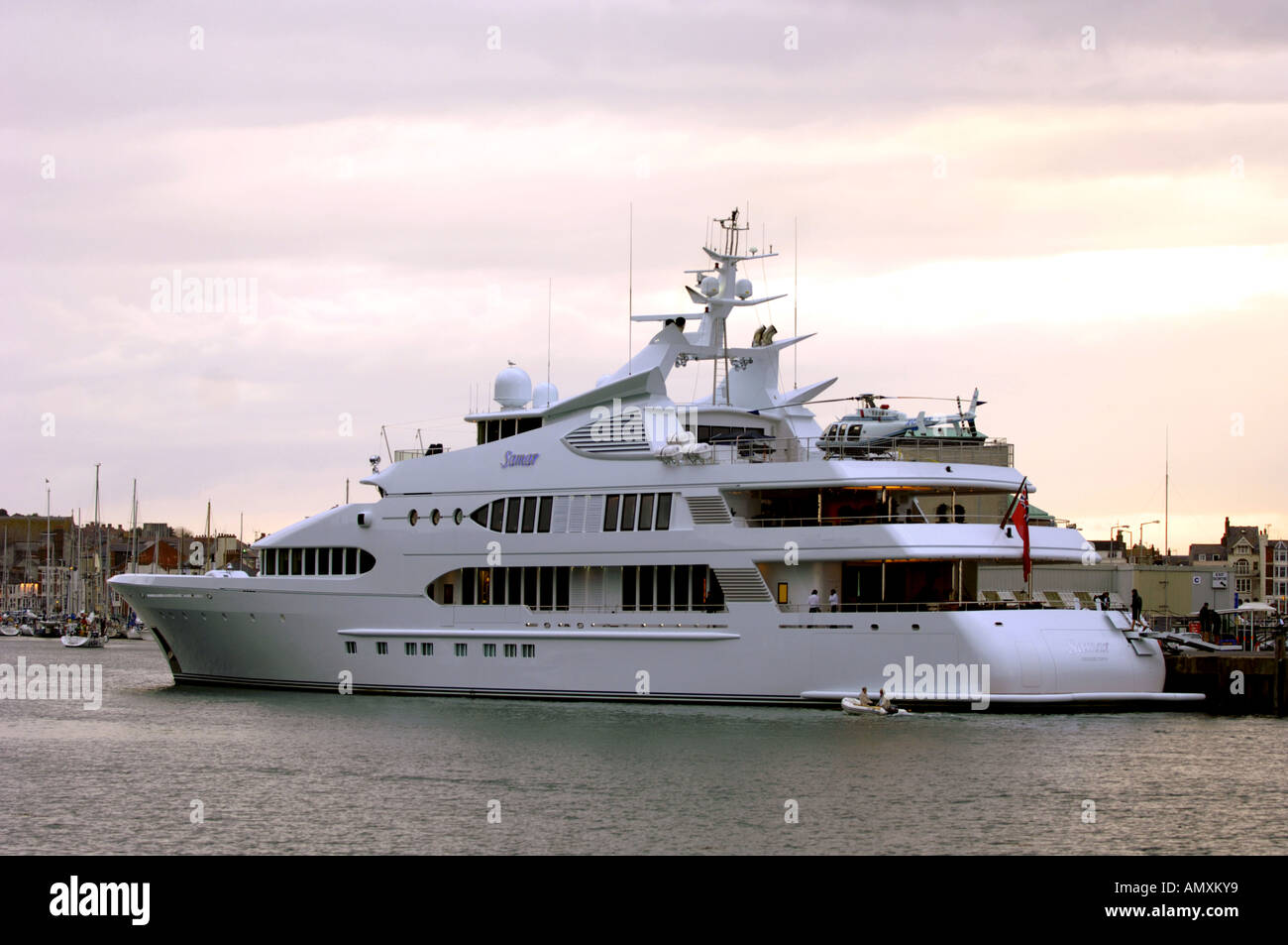 Samar, super yacht at dock in Weymouth Harbour, Dorset UK - Stock Image