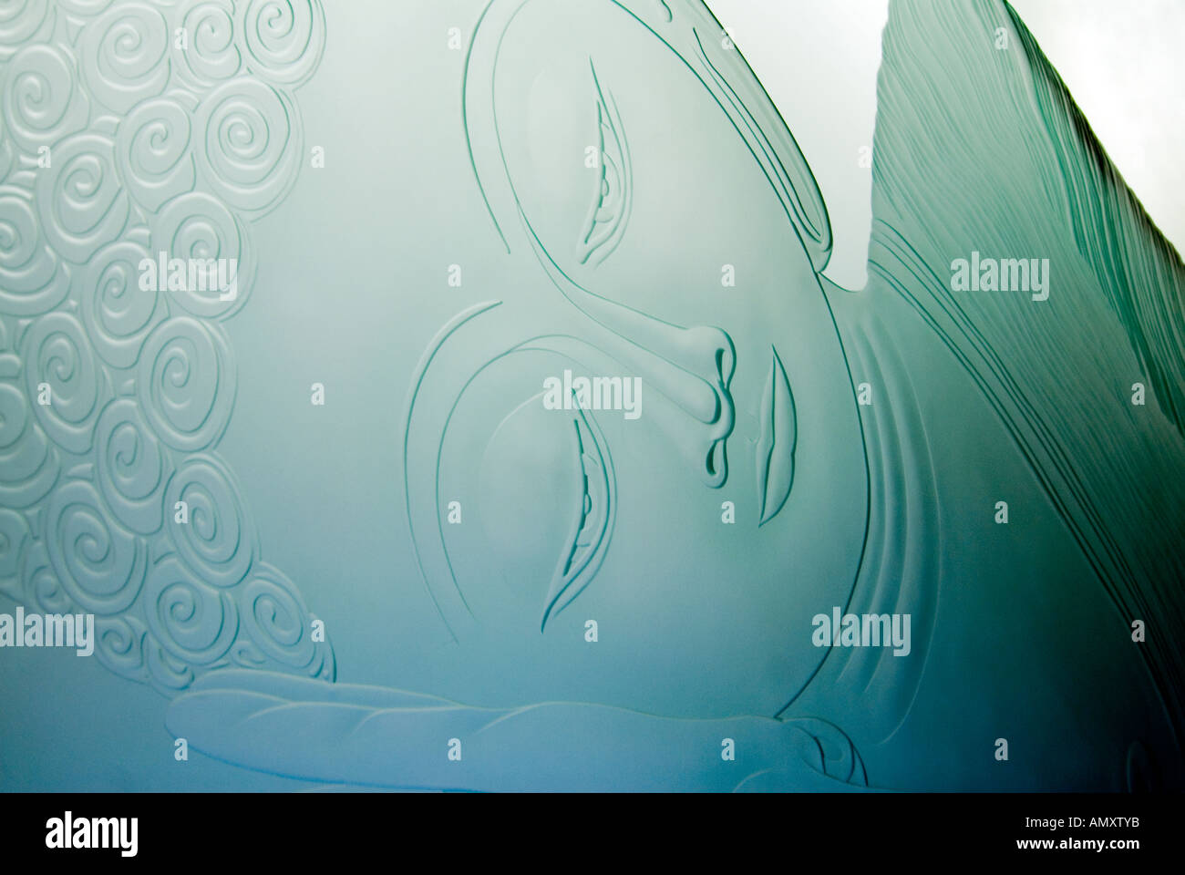 PICTURE CREDIT DOUG BLANE glass etching of the reclining Buddha at Amaravati Buddhist Monastery England Great Britain Stock Photo