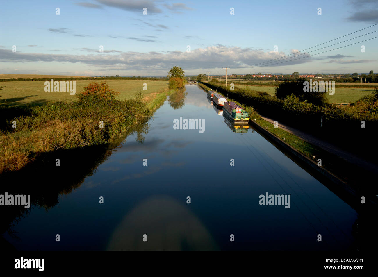 The canal stretches away at dawn near Bradford on Avon - Stock Image