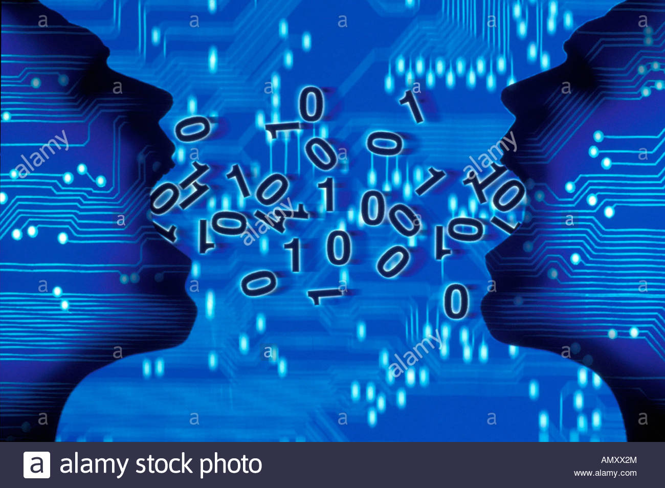 Two Circuit Board Cutout Human Stock Photos Binary Code On Faces Eating Image