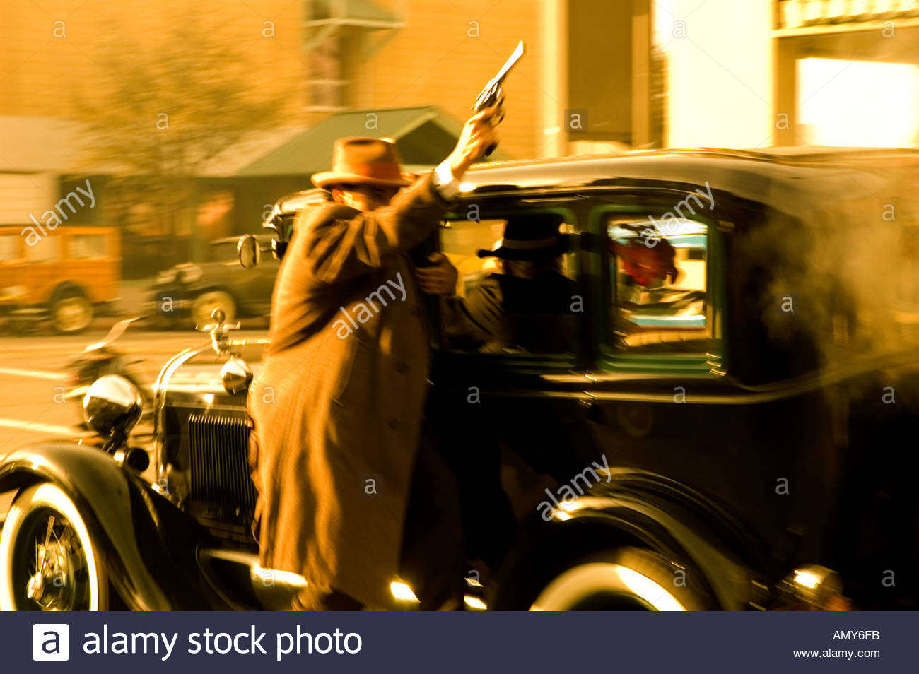 Old time Shoot out re enacting the John Dillinger Gang historic Tucson Capture at the Hotle Congress in Tucson Arizona USA - Stock Image
