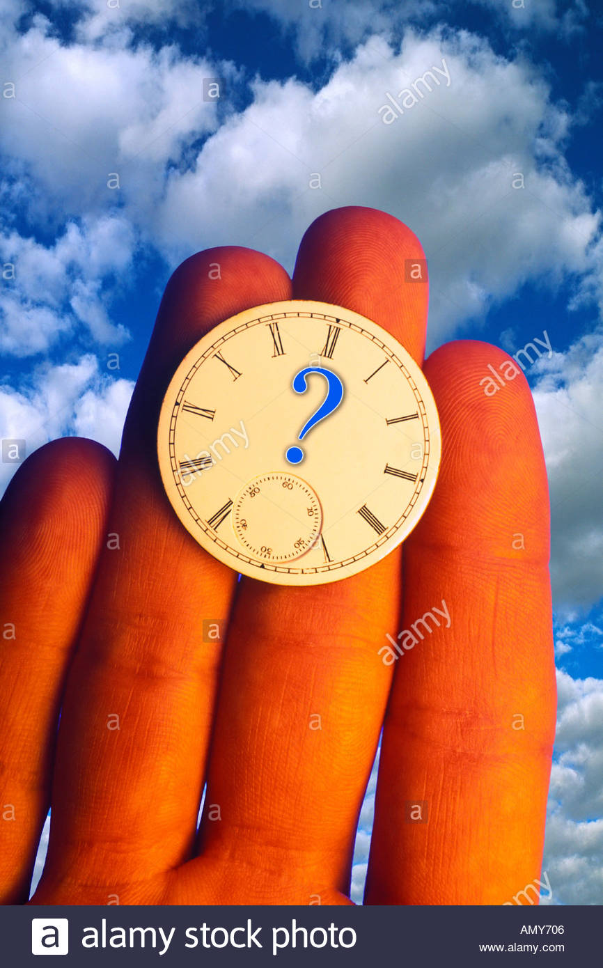 Conceptual Time in hand image with clouds and Blue Sky - Stock Image
