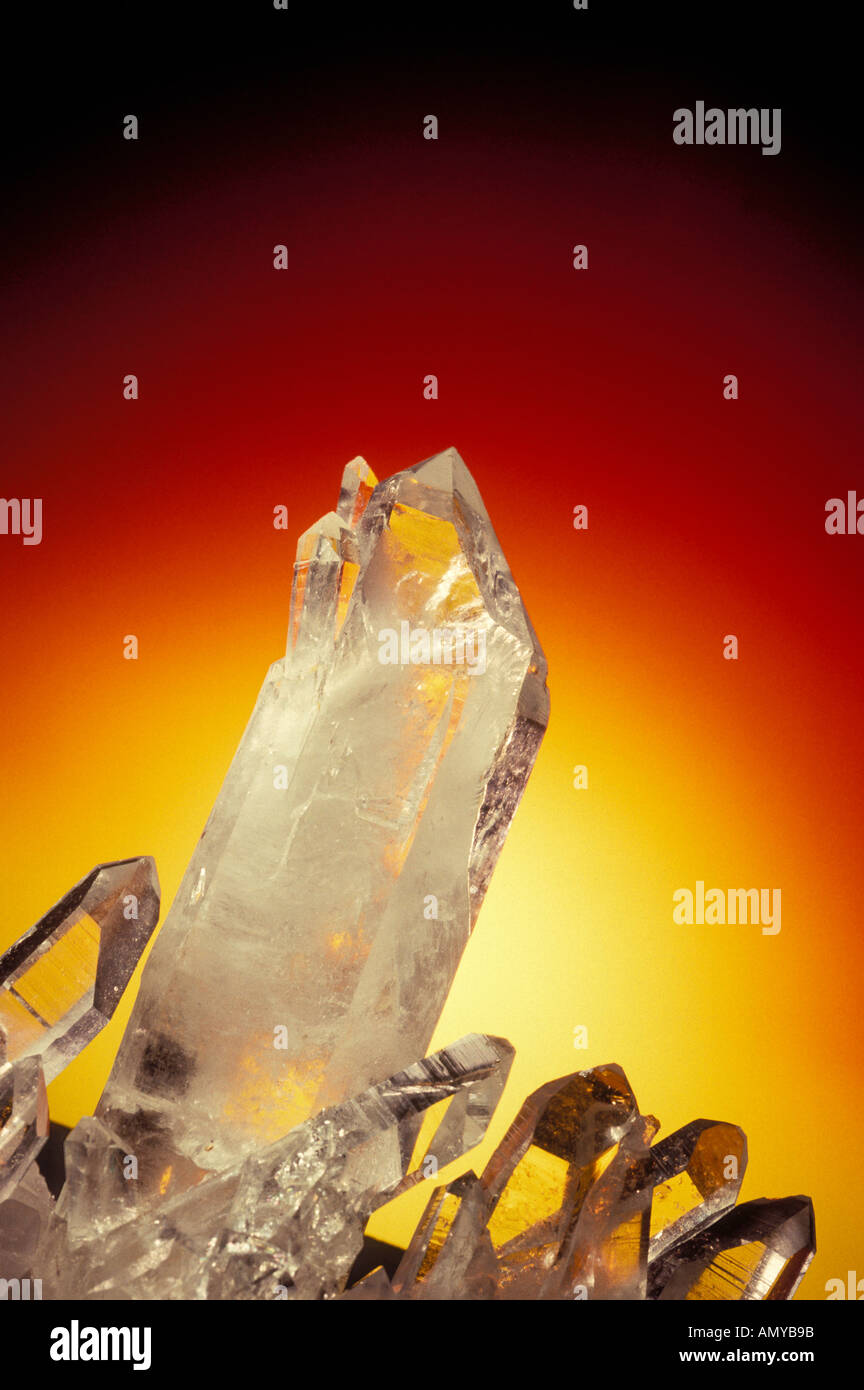 Crystals against red yellow background - Stock Image