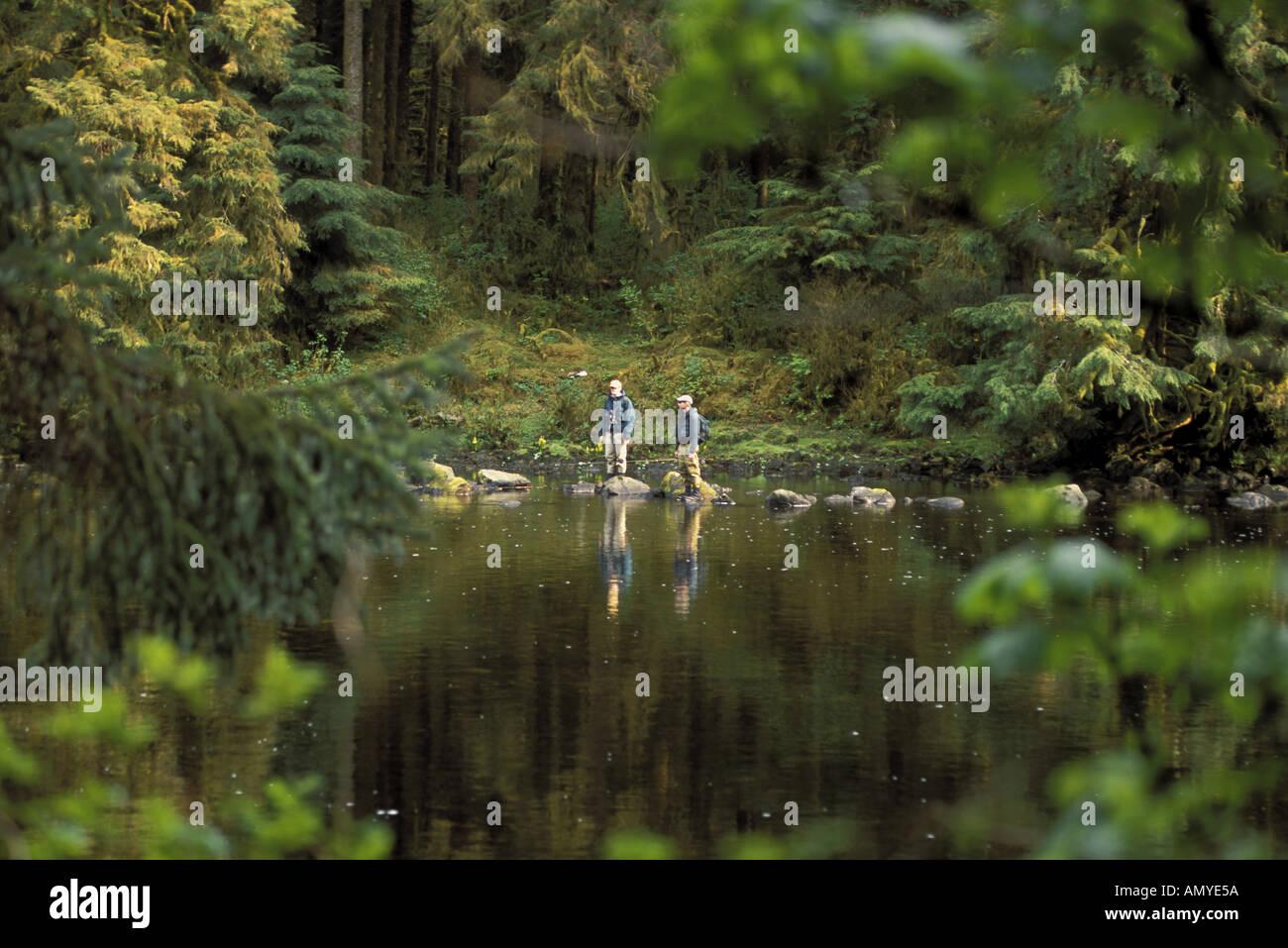 wales karta Flyfishermen on Karta River Prince of Wales Is SE AK Summer Stock  wales karta