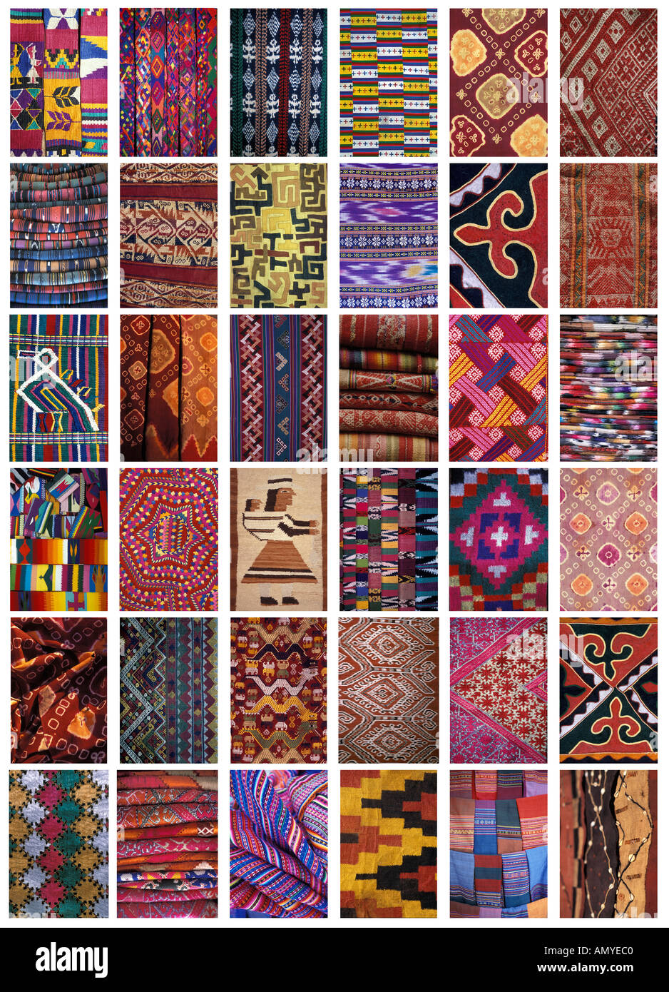 Collage of 36 textile patterns from around the world Asia and Latin America Large format image - Stock Image