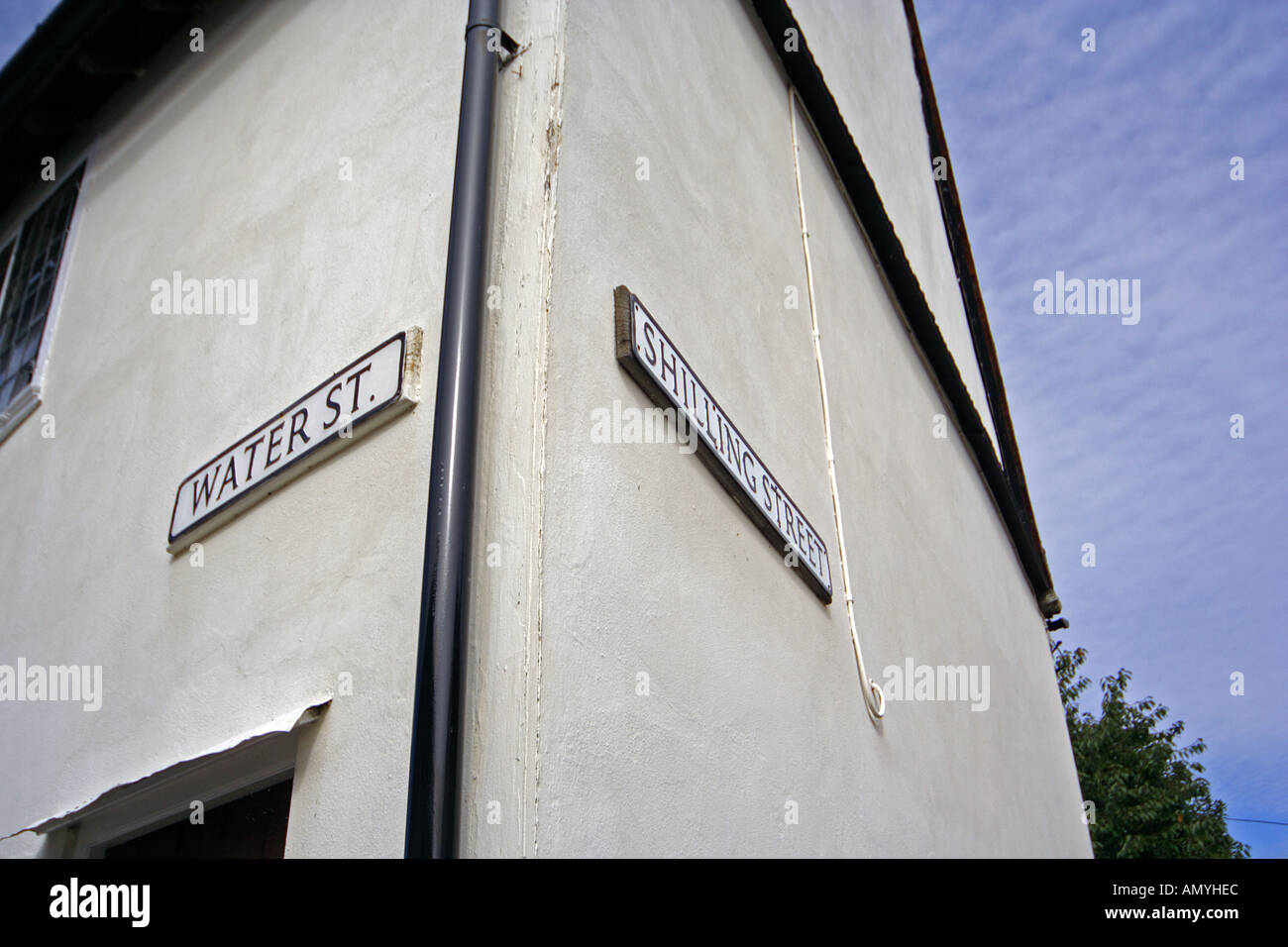 Water Street and Shilling Street Lavenham Suffolk East Anglia UK - Stock Image