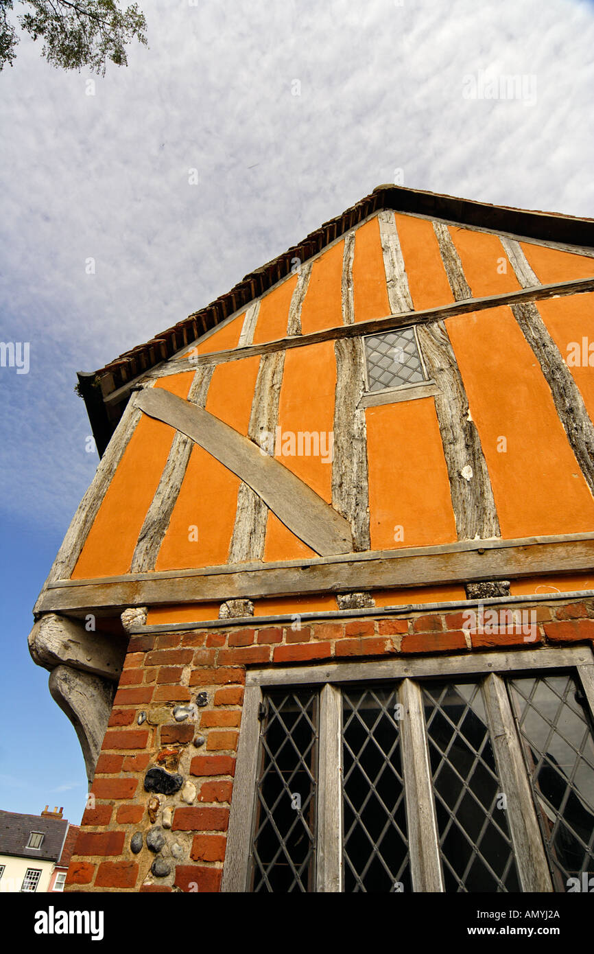 The imposing C15th timber framed gable of Little Hall Lavenham Suffolk East Anglia UK - Stock Image