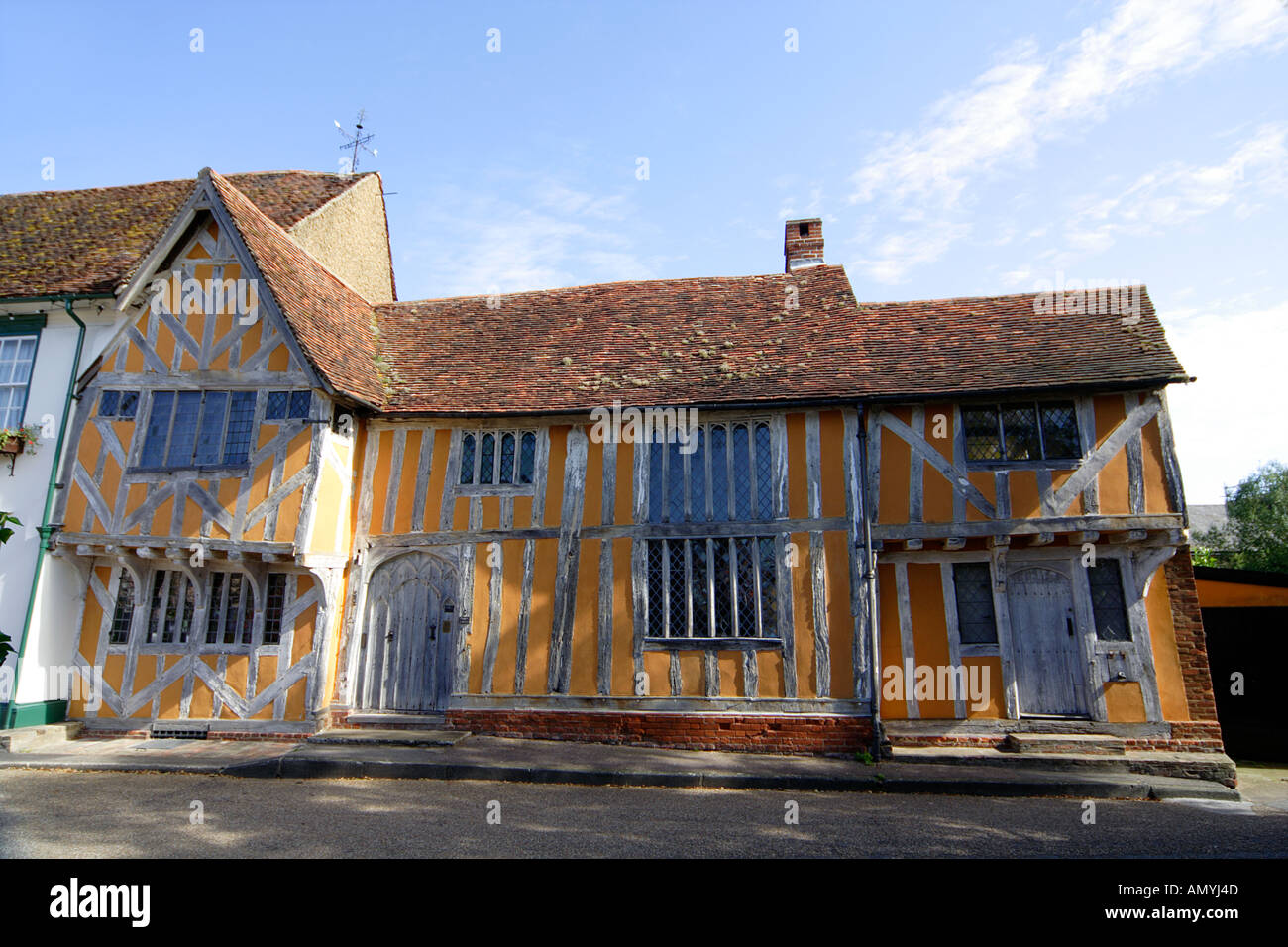 The C15th timber framed Little Hall Market Place Lavenham which was originally an open hall Suffolk East Anglia UK - Stock Image