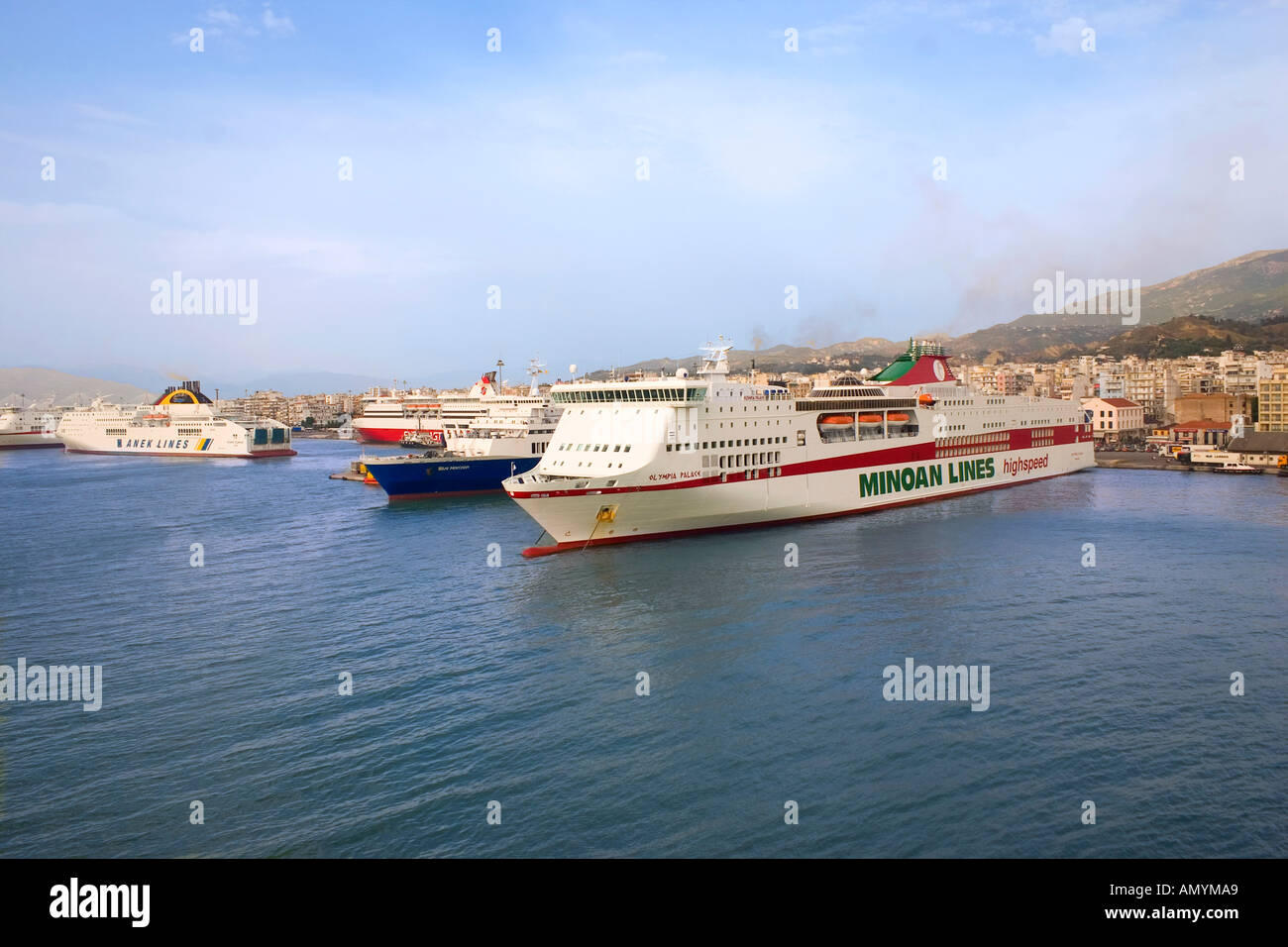 ferryboats in Patras harbour Achaia Peloponnese Greece - Stock Image