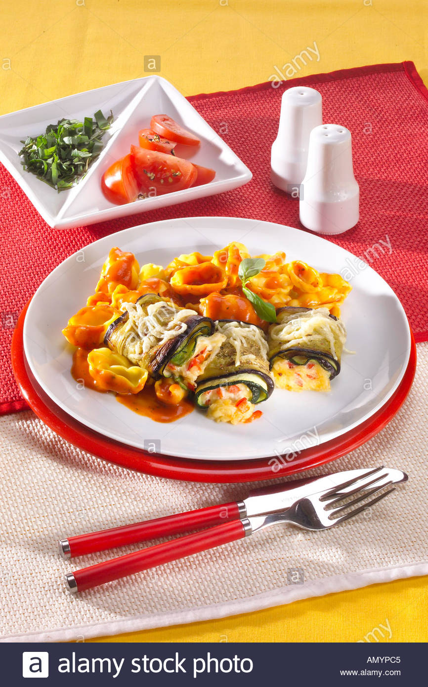 Baked Aubergine Rolls with Amore Mio Pasta - Stock Image
