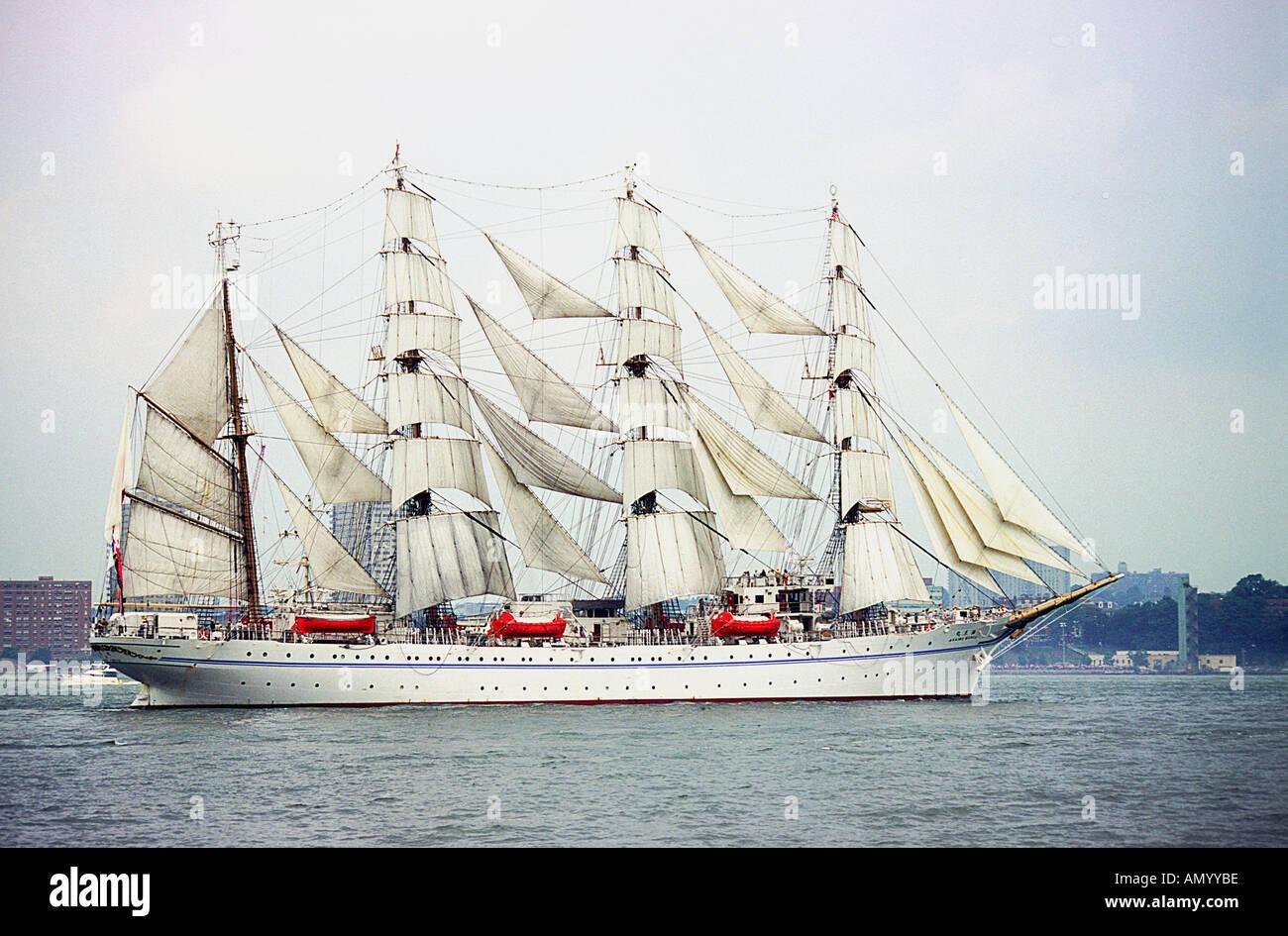 Tall Ship Japanese Bark Kaiwo Maru New York City Hudson River - Stock Image