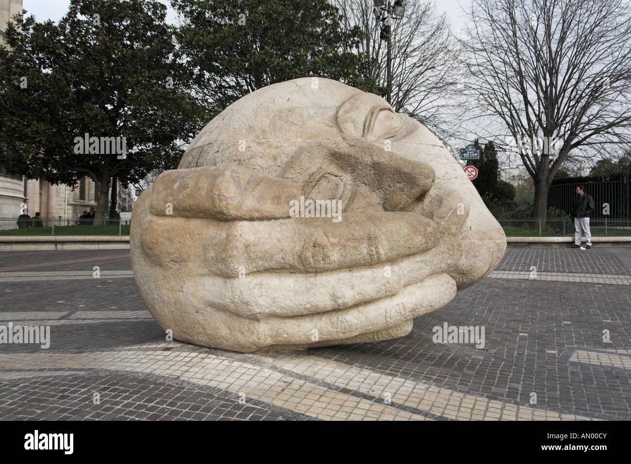 giant stone head of l 39 ecoute by henri de miller near les. Black Bedroom Furniture Sets. Home Design Ideas