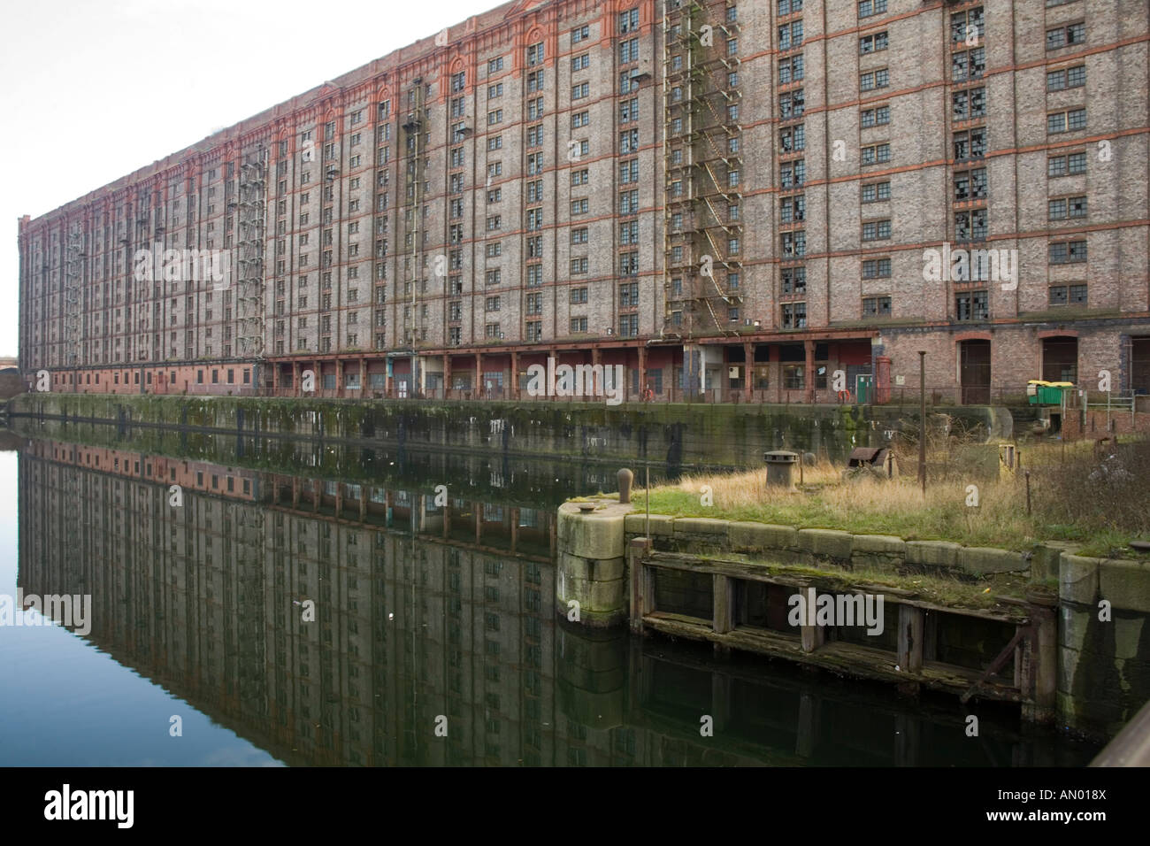 Stanley Dock built in 1848 Liverpool  UK with a large tobacco warehouse adjacent reputed to be the largest in Europe Stock Photo