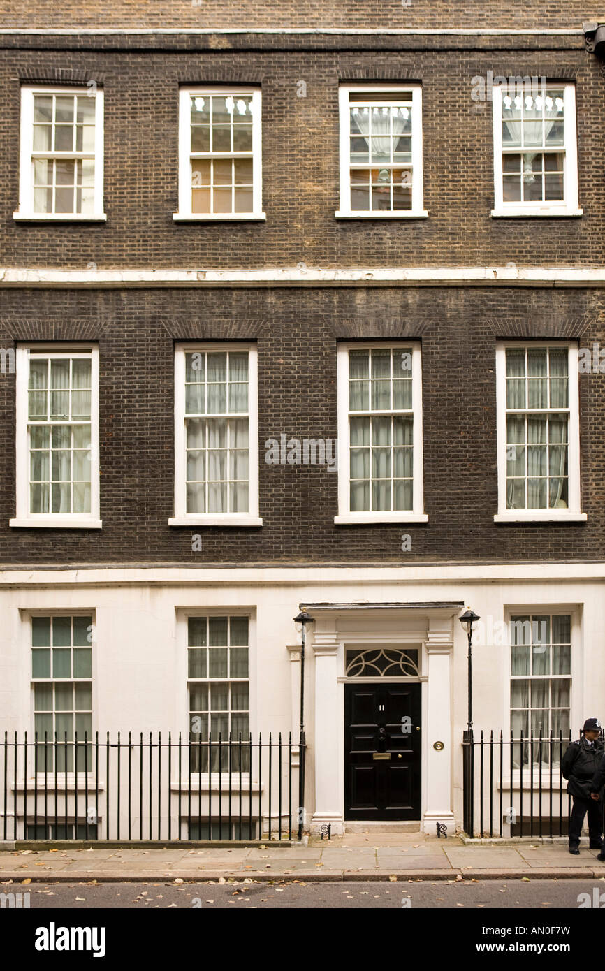 UK London Whitehall number 11 Downing Street home of British Chancellor of Exchequer - Stock Image