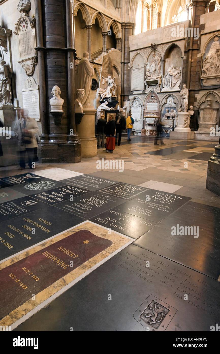 UK London Westminster Abbey South Transept Poets Corner - Stock Image