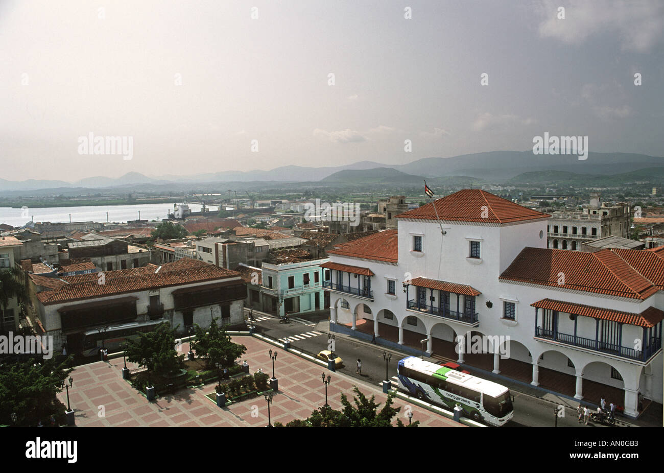 Town Hall and symbol of Santiago de Cuba Fidel Castro first addressed the people from here Parque de Cespedes Santiago CUBA - Stock Image