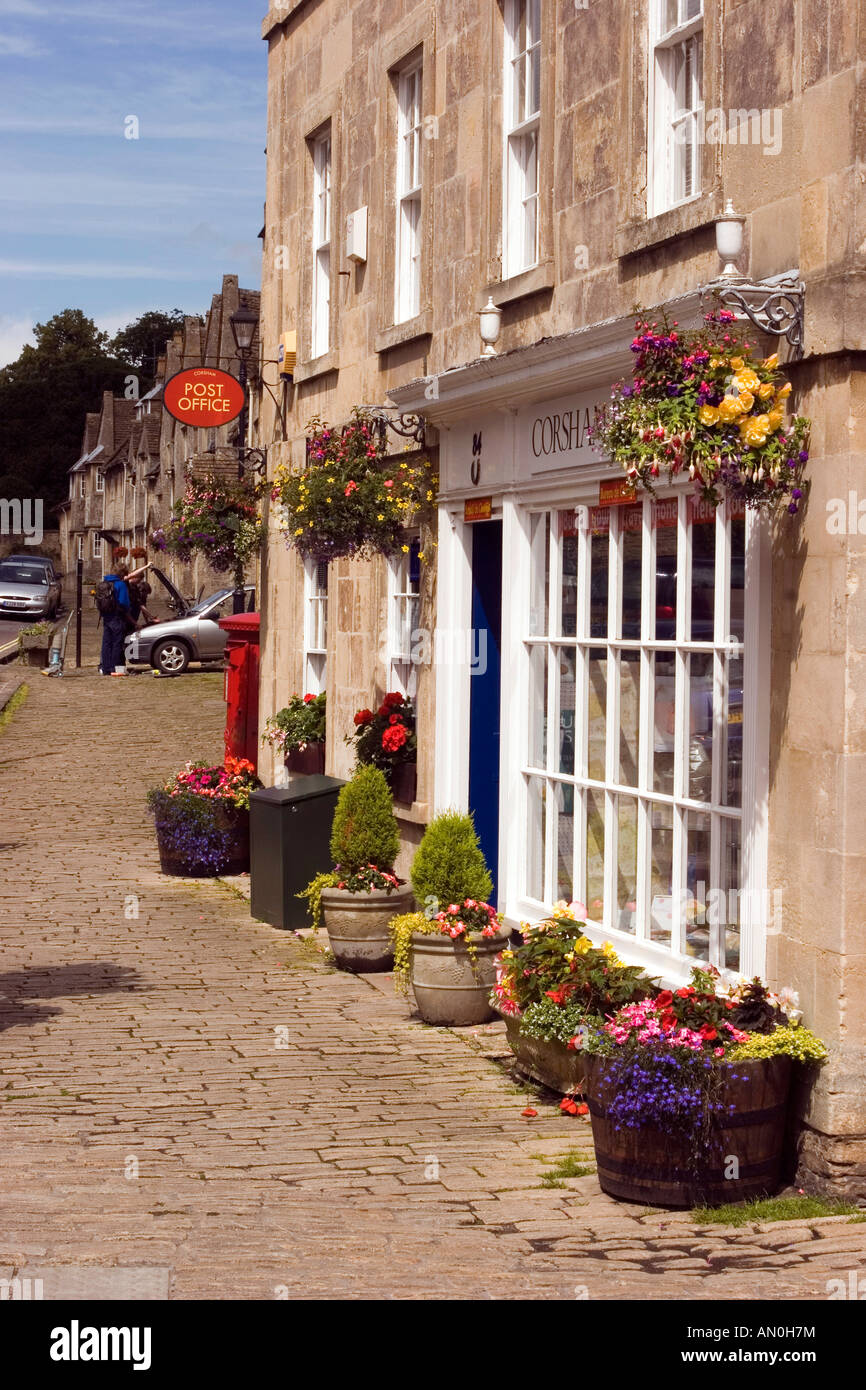 UK Wiltshire Corsham High Street post office near Flemish weavers cottages Stock Photo