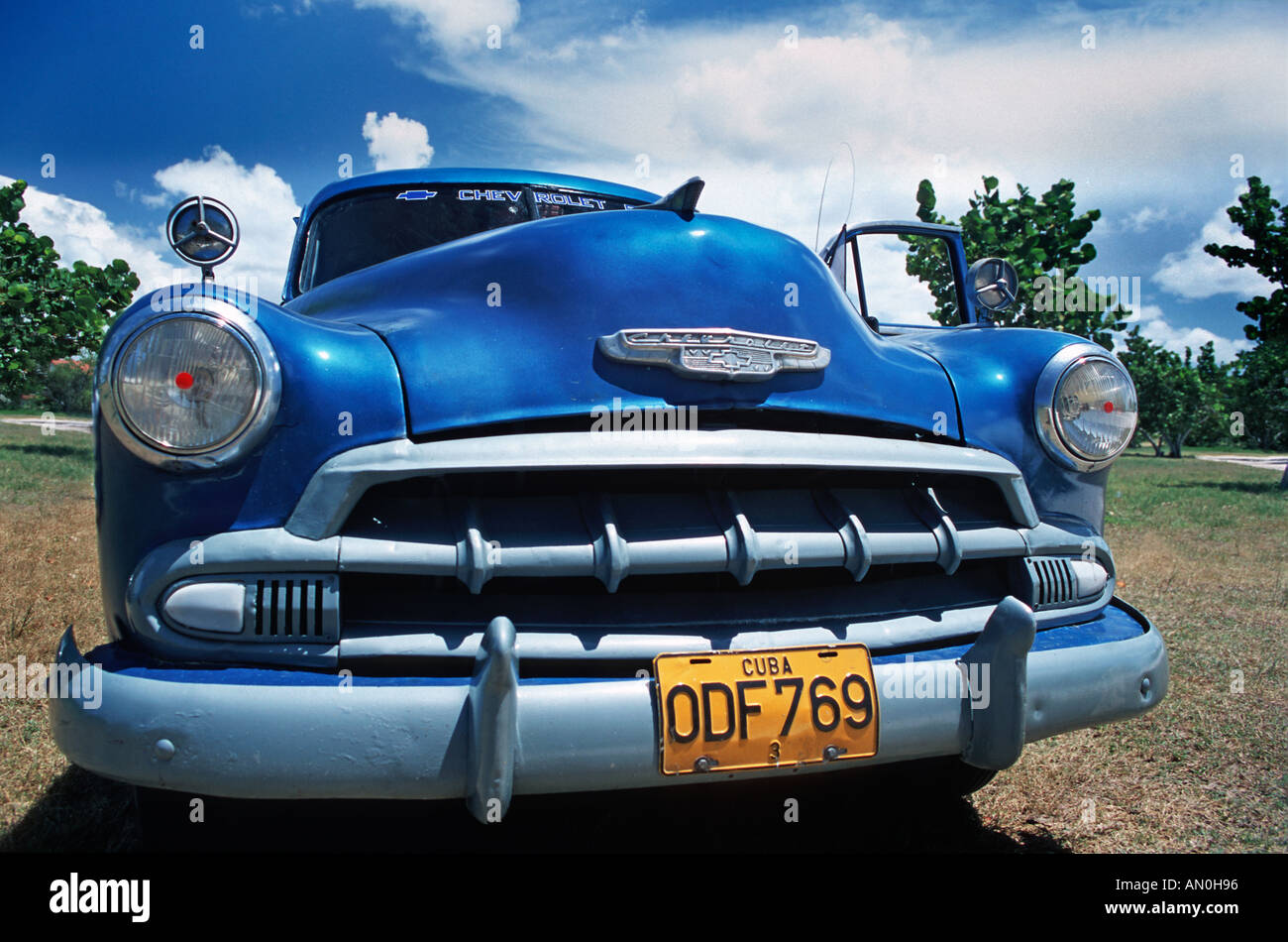 Vintage American Chevrolet car A common local sight in Cuba Photographed in Holguin Province near Guardalavaca CUBA - Stock Image
