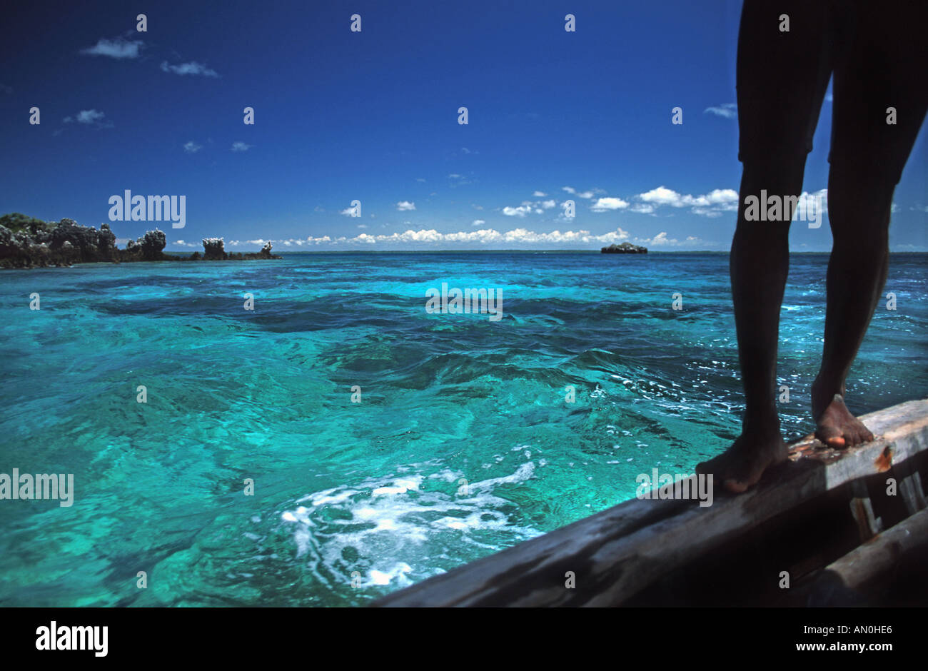 Crystal clear waters between Mafia Island and Chole island en route to the ruins of Kua on Joani island S of Zanzibar Tanzania - Stock Image