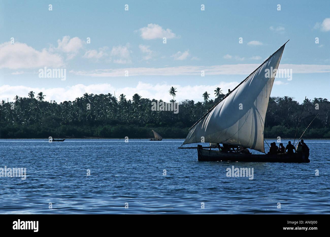 Traditional dhow operating as a local passenger ferry between Mafia island and Chole island south of Zanzibar Tanzania E Africa - Stock Image