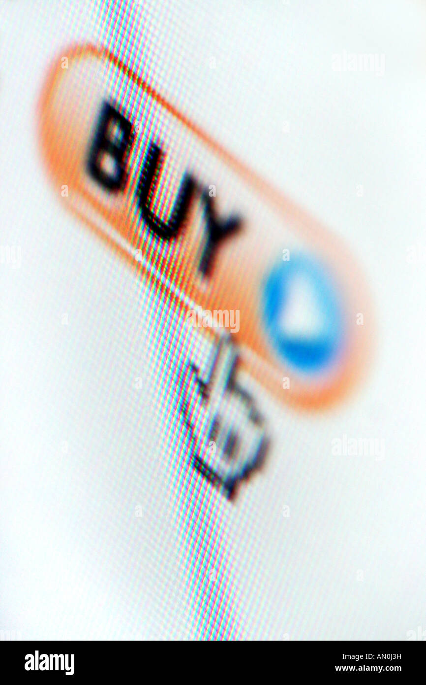 Cursor hovering over the buy icon on an internet website - Stock Image