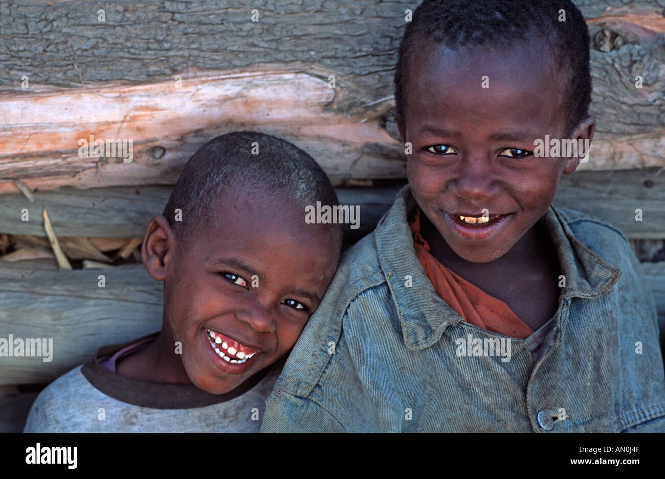 Masai boys beside a wooden fence North of Arusha en route to southern Kenya Tanzania - Stock Image