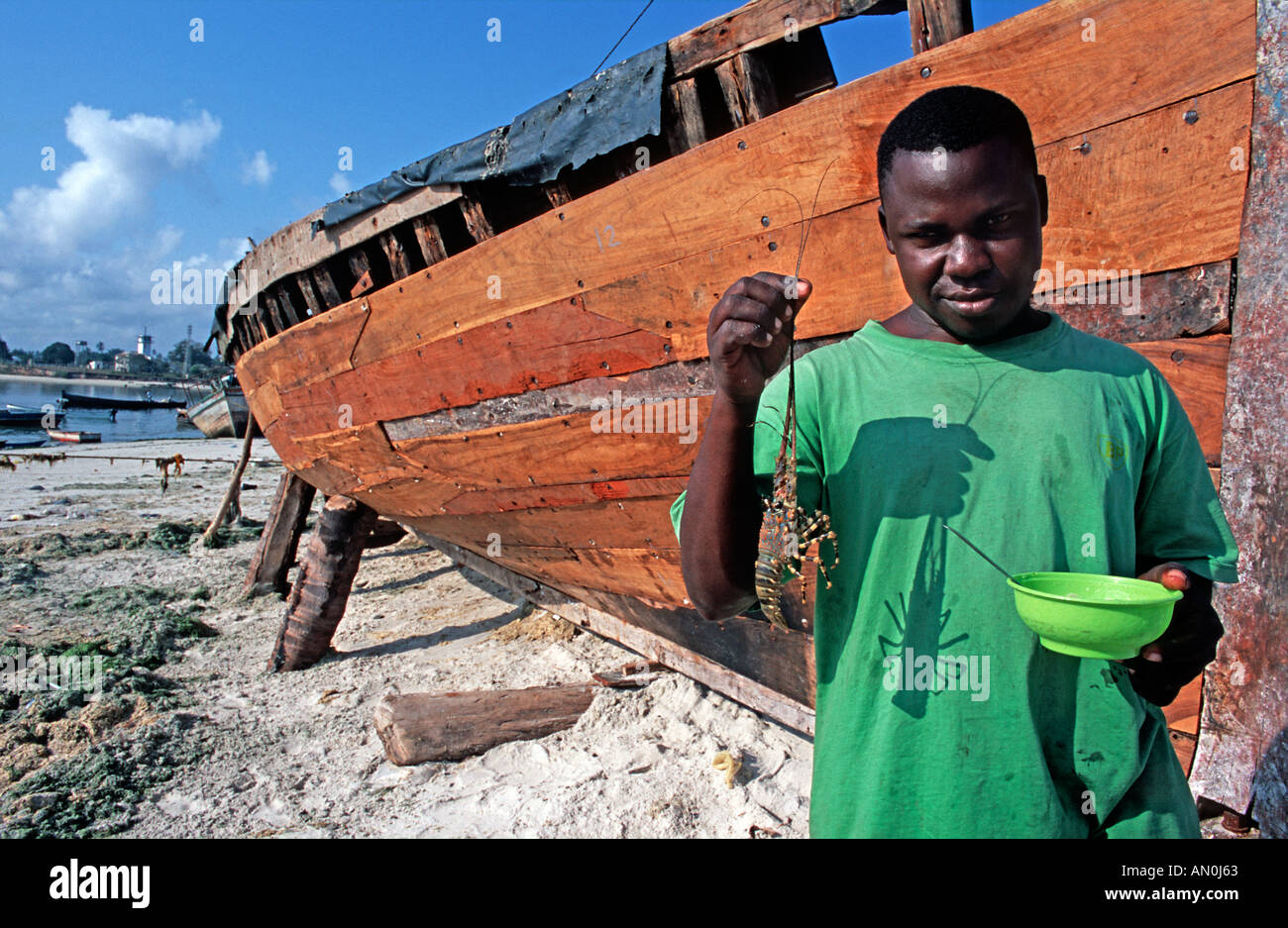 Tanzanian fisherman holding a large crayfish or lobster in his hands Beside dhow at the fish market in Dar es Salaam Tanzania - Stock Image