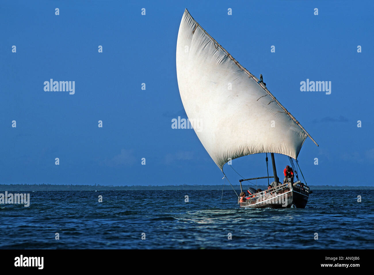 Sailing dhow excursion boat for visitors to the Chole Lodge on Chole island adjacent to Mafia island Tanzania East Africa - Stock Image