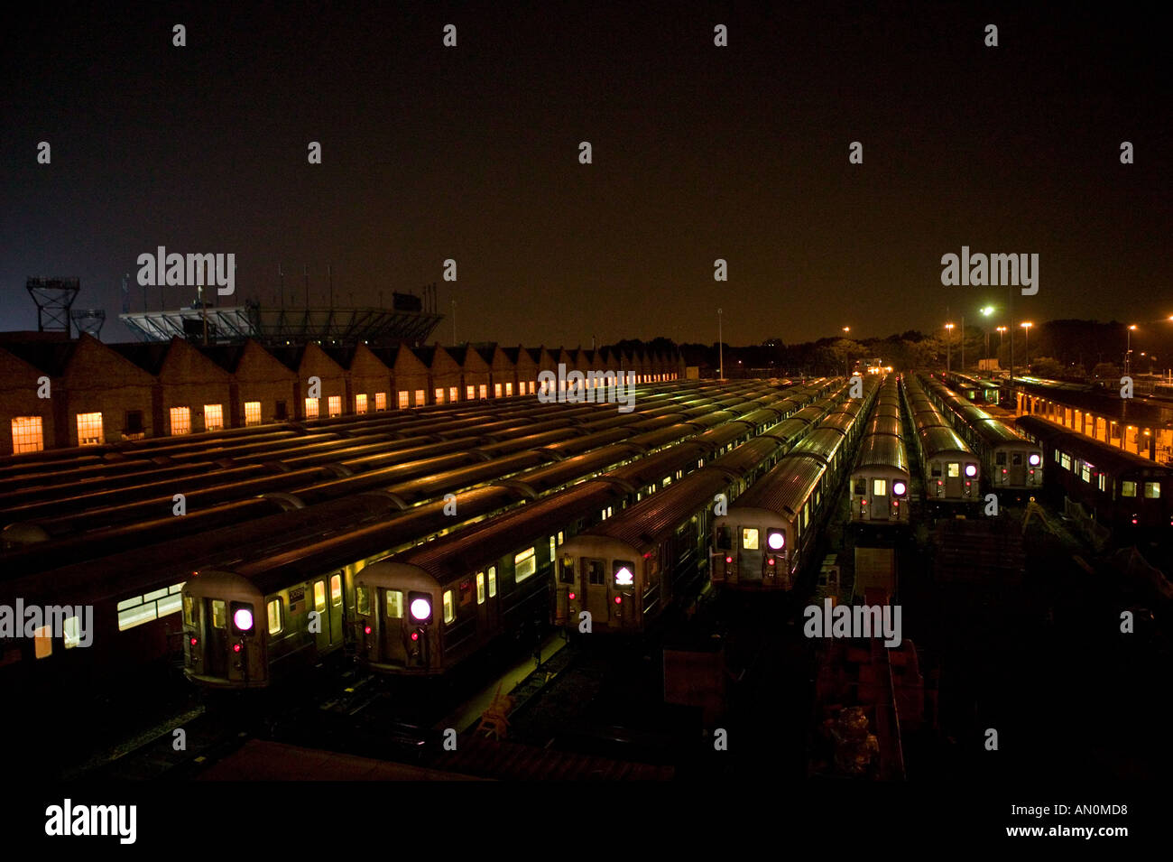 7 train line maintenance depot at night in New York United States USA 2005 - Stock Image