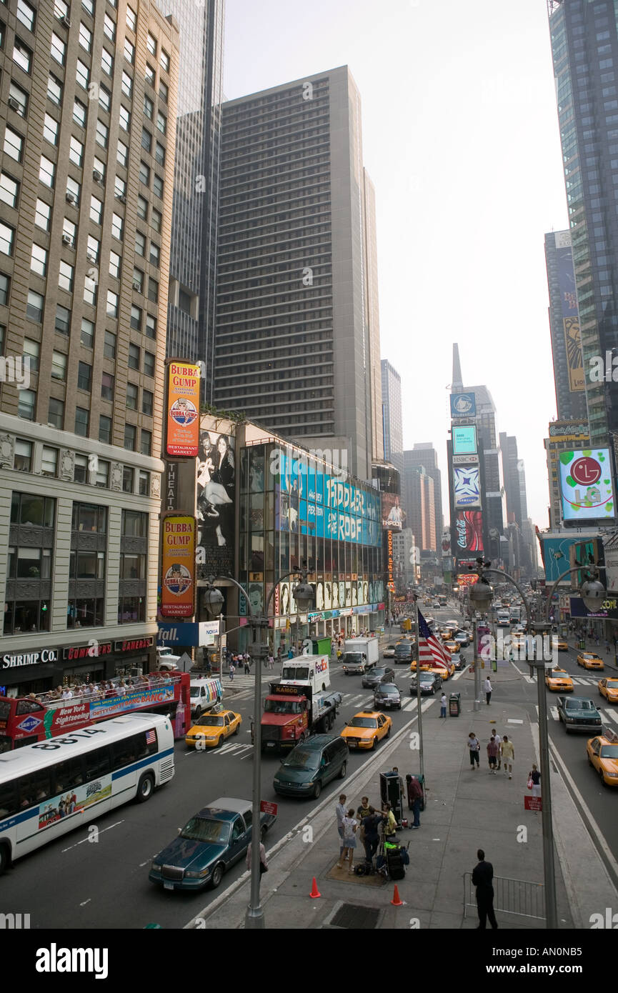 Northward view of Times Square in New York NY USA July 2005 - Stock Image