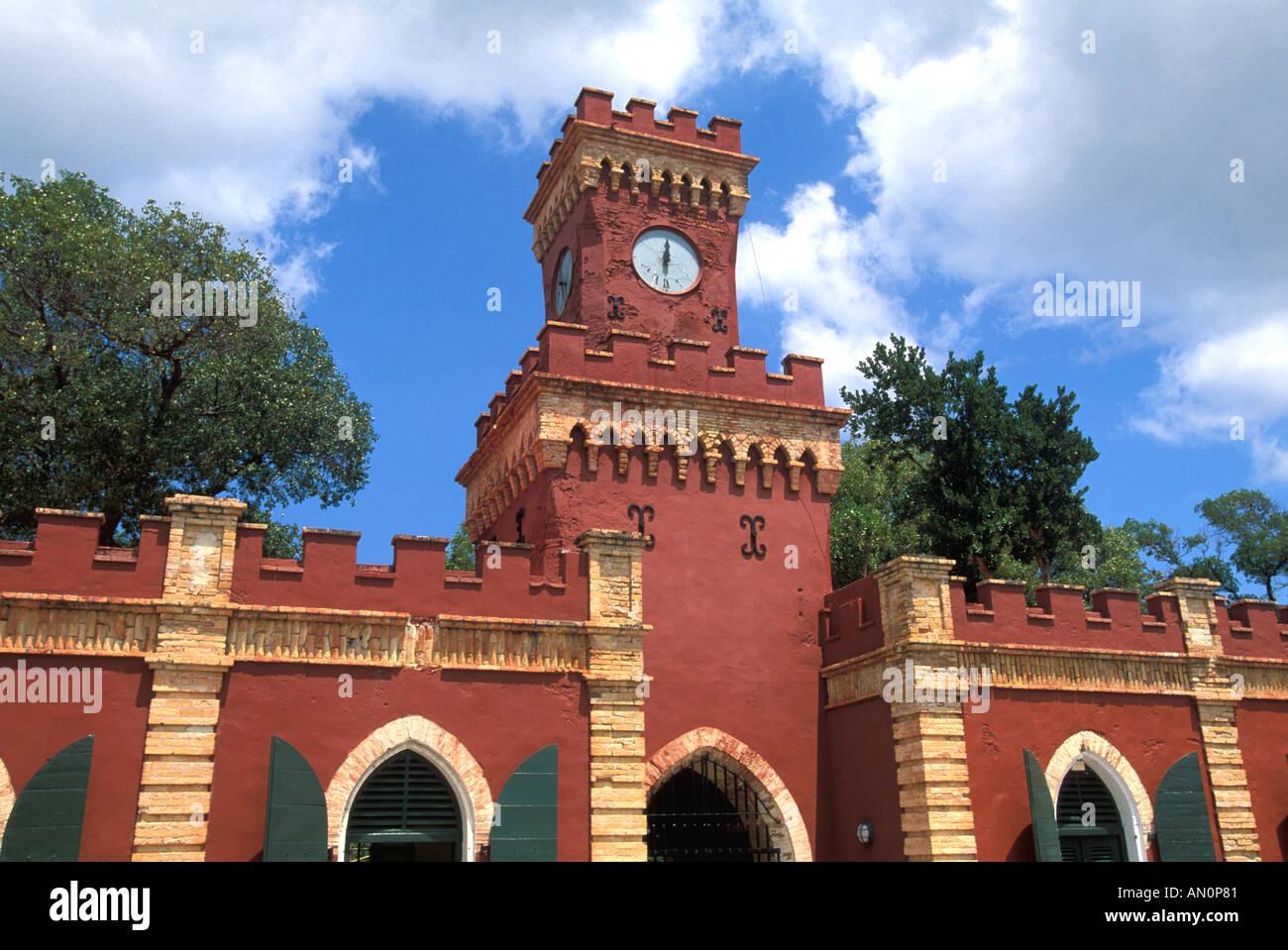 Fort Christian red walls clocktower St Thomas US Virgin Islands Charlotte Amalie historic landmark tourist attraction - Stock Image