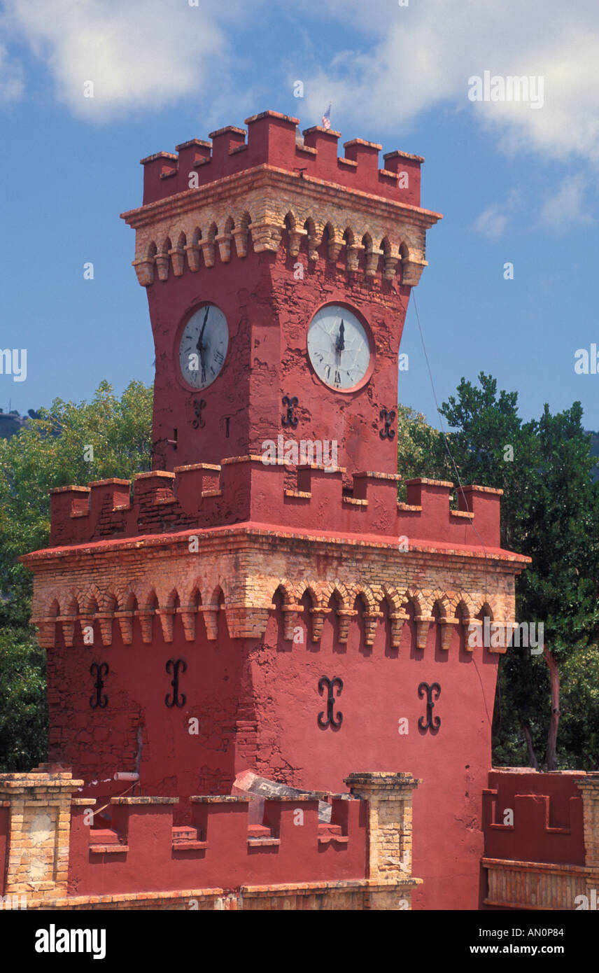 Fort Christian red clock tower St Thomas USVI Charlotte Amalie historic landmark tourist attraction red clock t wer - Stock Image