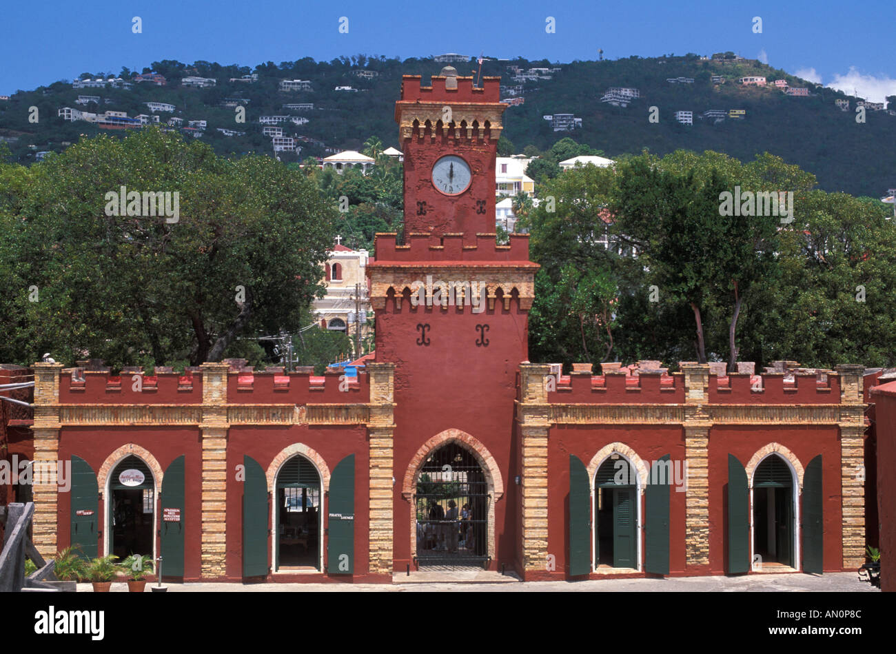 Fort Christian museum St Thomas historic landmark US Virgin Islands Charlotte Amalie bright red walls landmark attraction - Stock Image