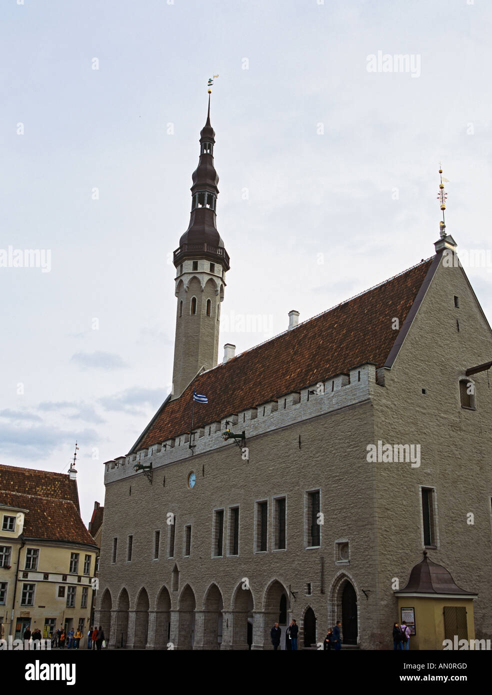 TALLINN REPUBLIC OF ESTONIA EUROPEAN UNION September Raejoka The Town Hall the oldest surviving Baltic secular Gothic building - Stock Image