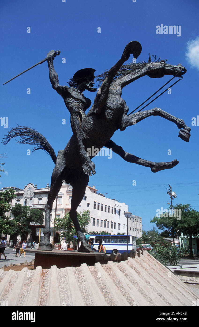A metal statue of the Cervantes character Don Quixote, in Havana ...