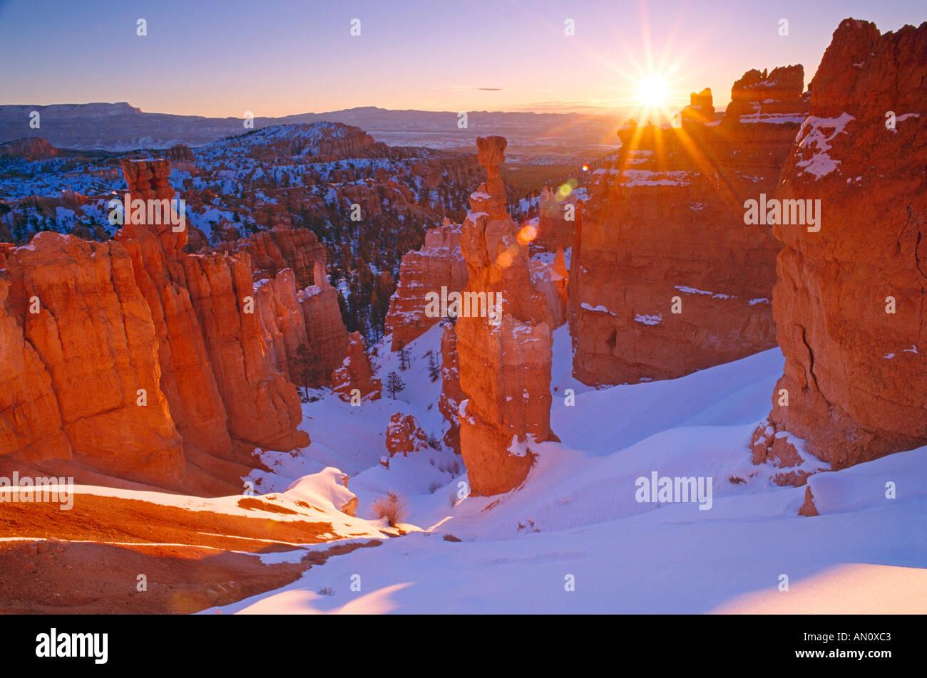 Winter sunrise on Thors Hammer Bryce Canyon National Park Utah - Stock Image