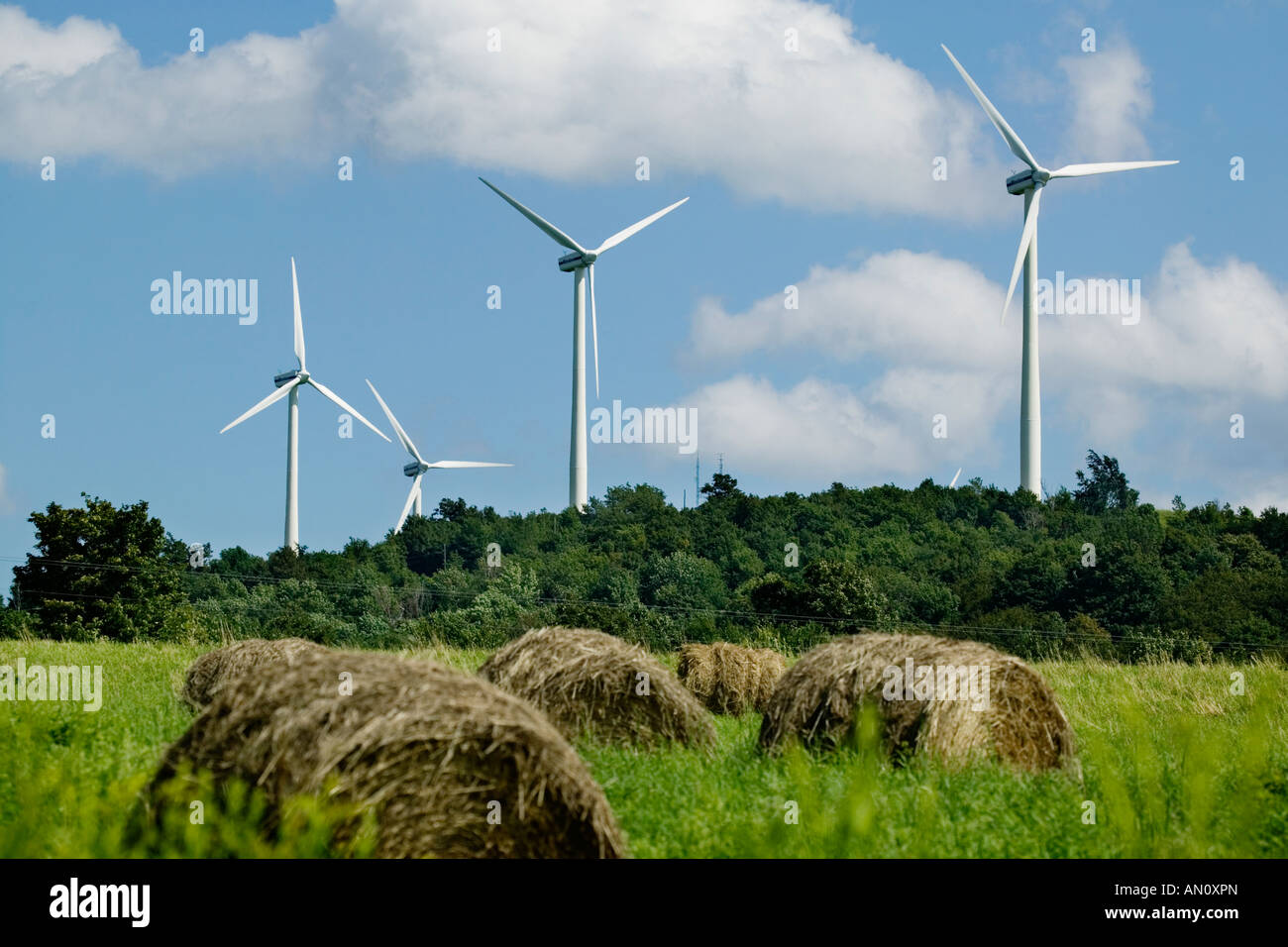 Wind turbine generator Madison upstate New York Route 20 Great Western Turnpike - Stock Image