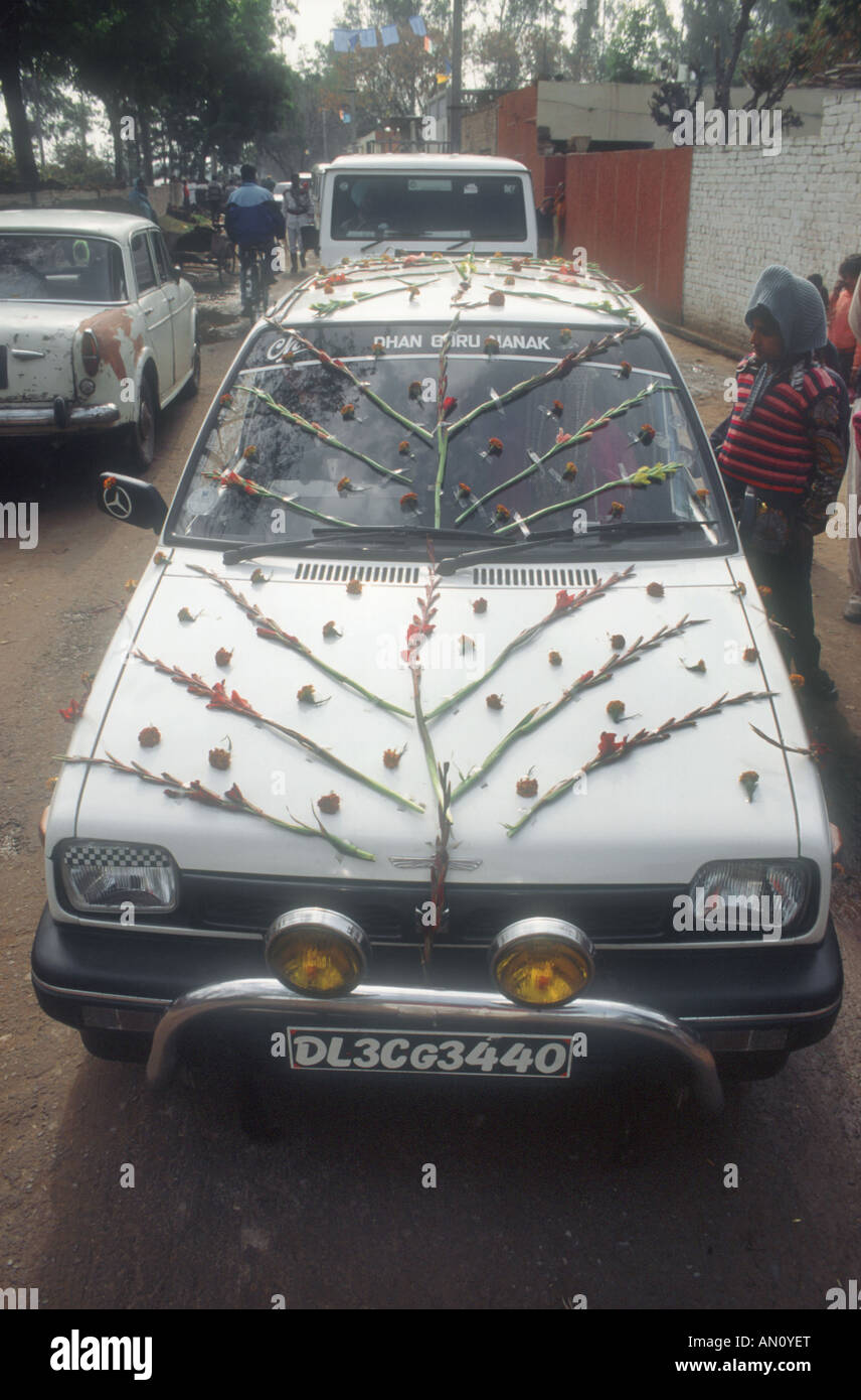 Wedding Car Decorated With Flowers Outside Wedding Venue In Patiala
