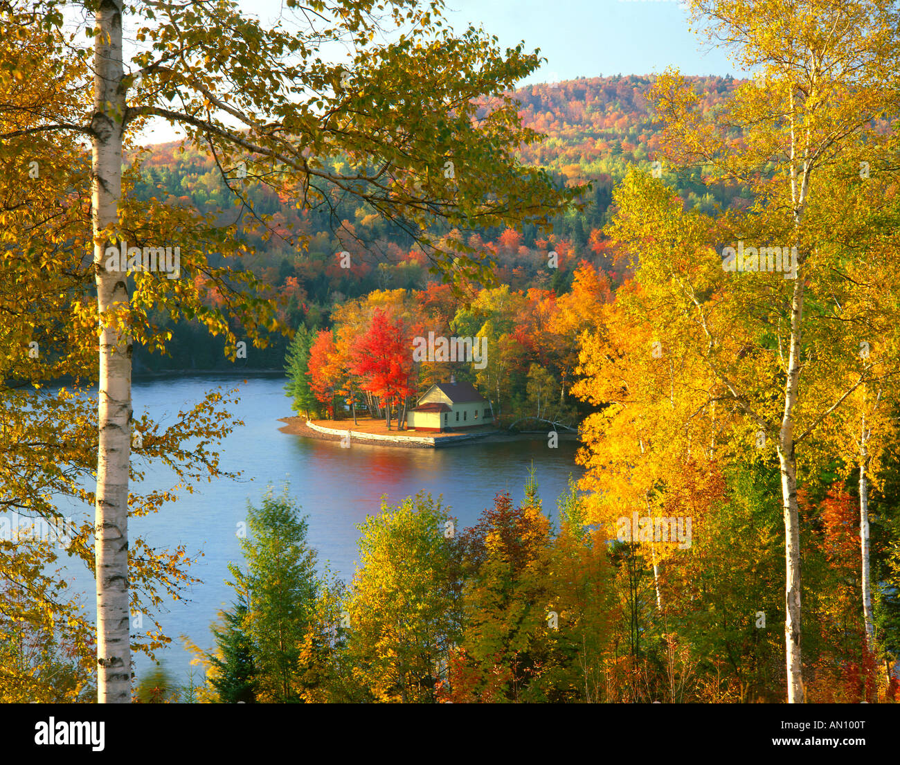 USA, Maine, Wyman Lake, Summer Home On Point Surrounded By