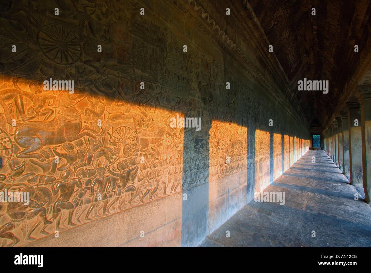 Bas-reliefs of Hindu myths at Angkor Wat, Cambodia - Stock Image