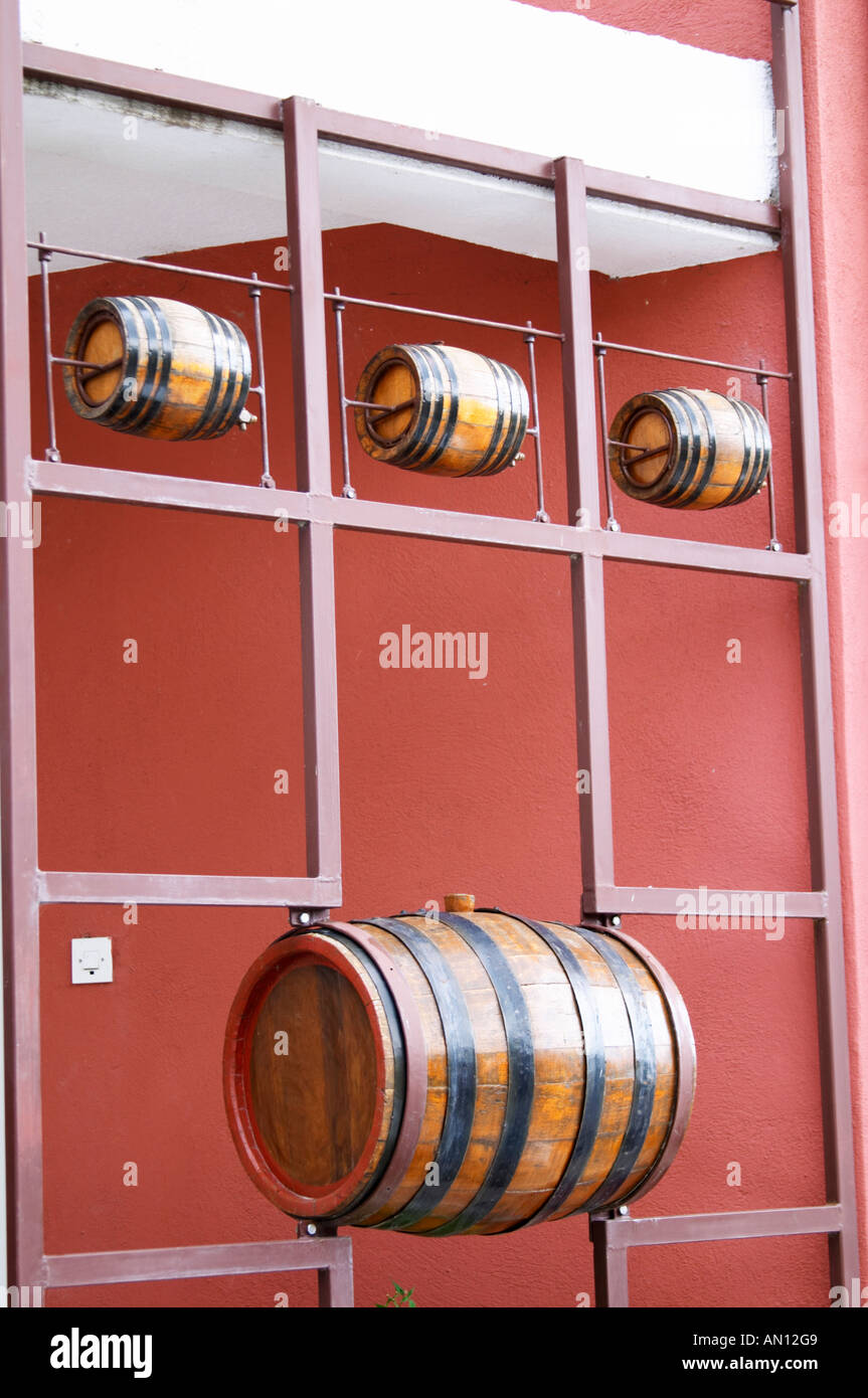 Small Wine Barrels For Decoration.Decoration Of Small Wine Barrels Outside The Winery Vukoje