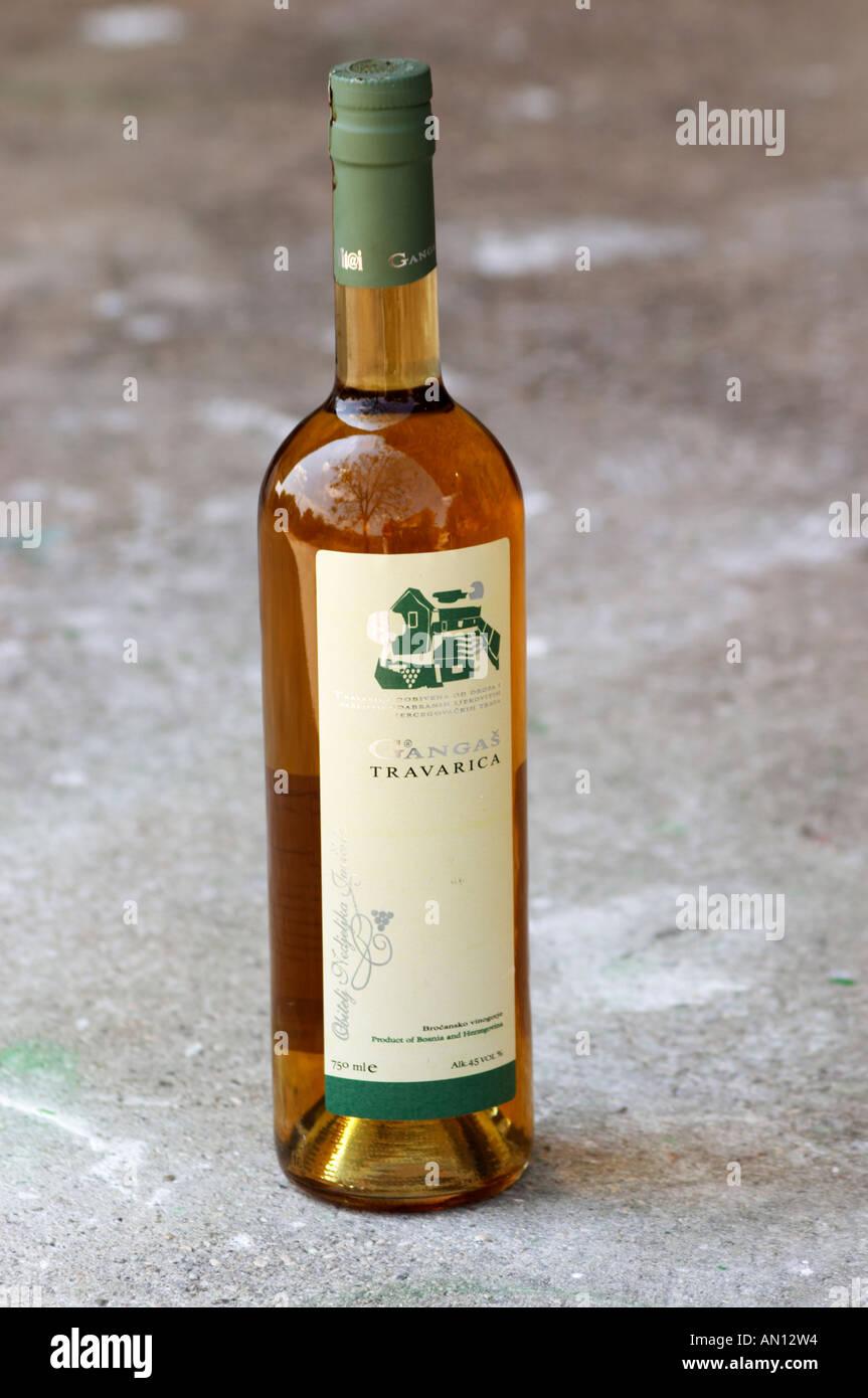 Bottle of Gangas Travarica herb spiced alcohol. Vita@I Vitaai Vitai Gangas Winery, Citluk, near Mostar. Federation Bosne i Hercegovine. Bosnia Herzegovina, Europe. - Stock Image