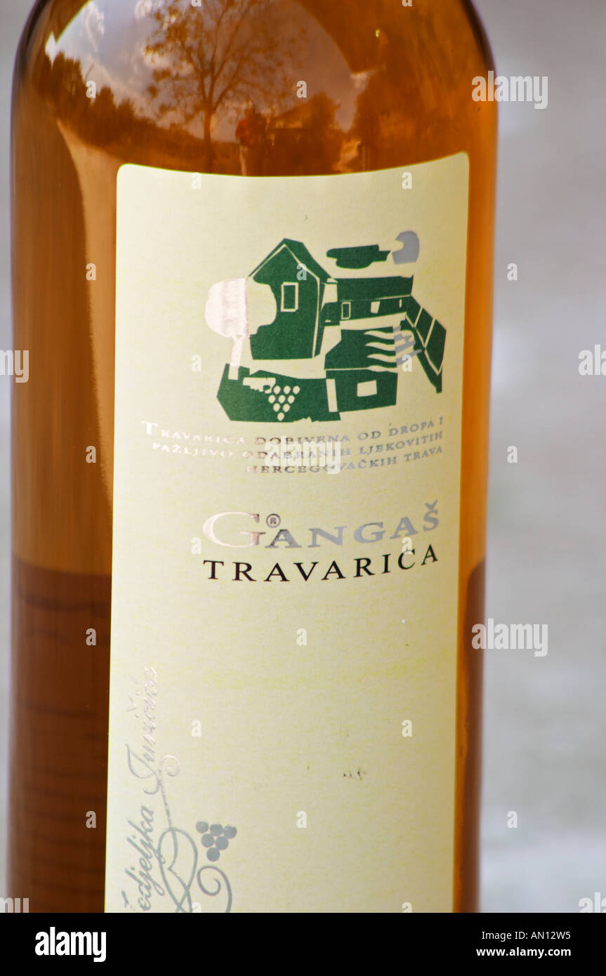 Bottle of Gangas Travarica herb spiced alcohol. Label detail. Vita@I Vitaai Vitai Gangas Winery, Citluk, near Mostar. Federation Bosne i Hercegovine. Bosnia Herzegovina, Europe. - Stock Image