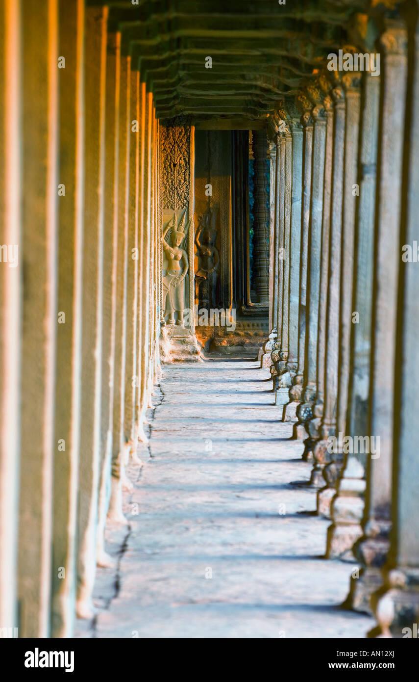 Bas reliefs of Hindu myths at Angkor Wat, Angkor, Cambodia - Stock Image