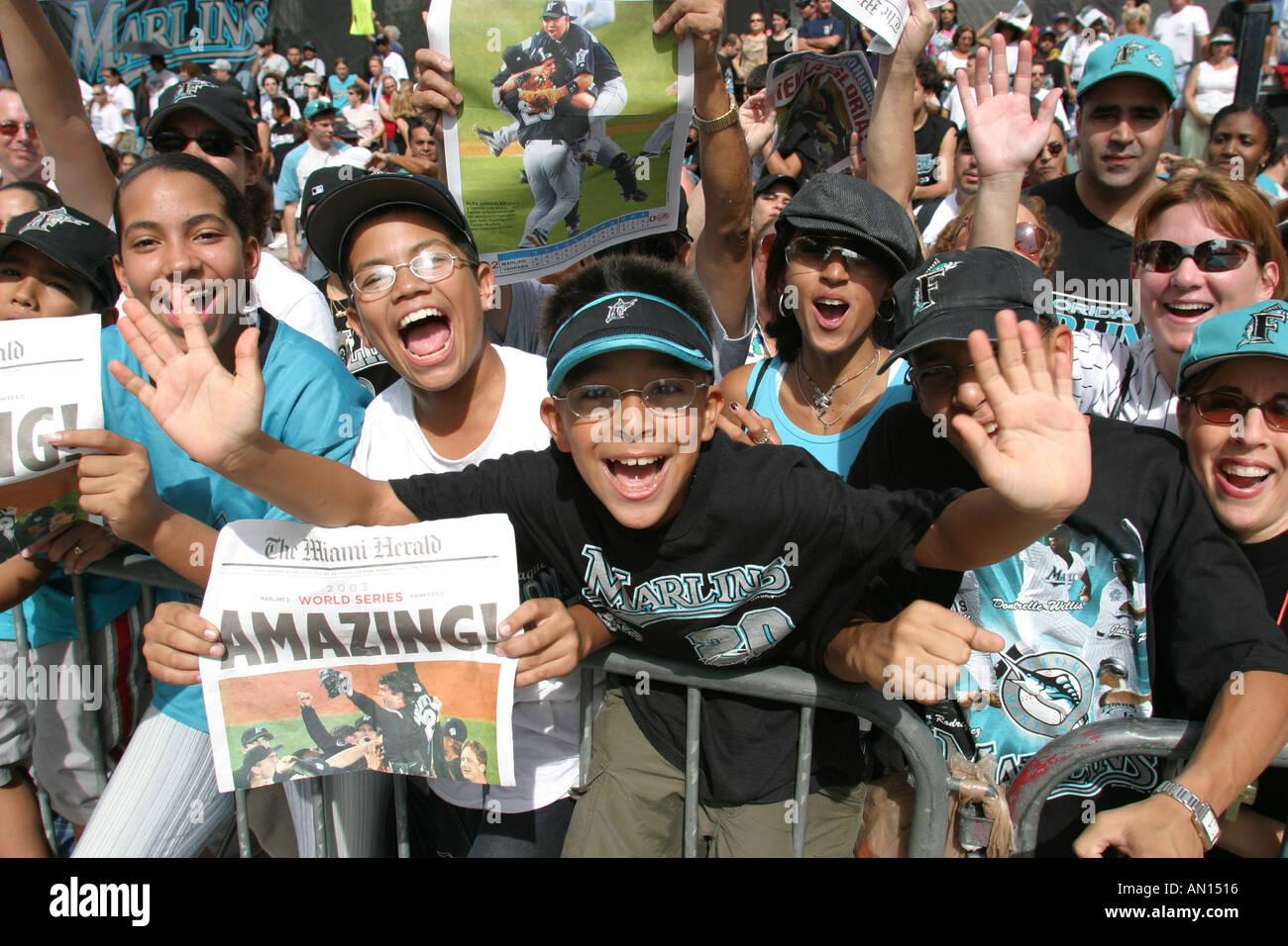 Miami Florida Flagler Street Florida Marlins Major League Baseball World Series winner fans celebrate - Stock Image
